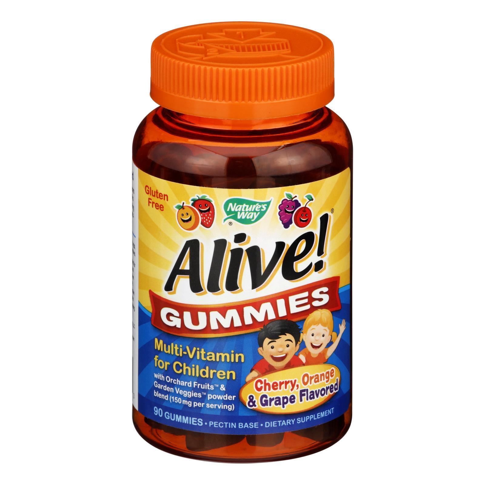 Nature's Way Alive Gummies Multi-Vitamin for Children Natural Cherry, Grape and Orange - 90 Gummies