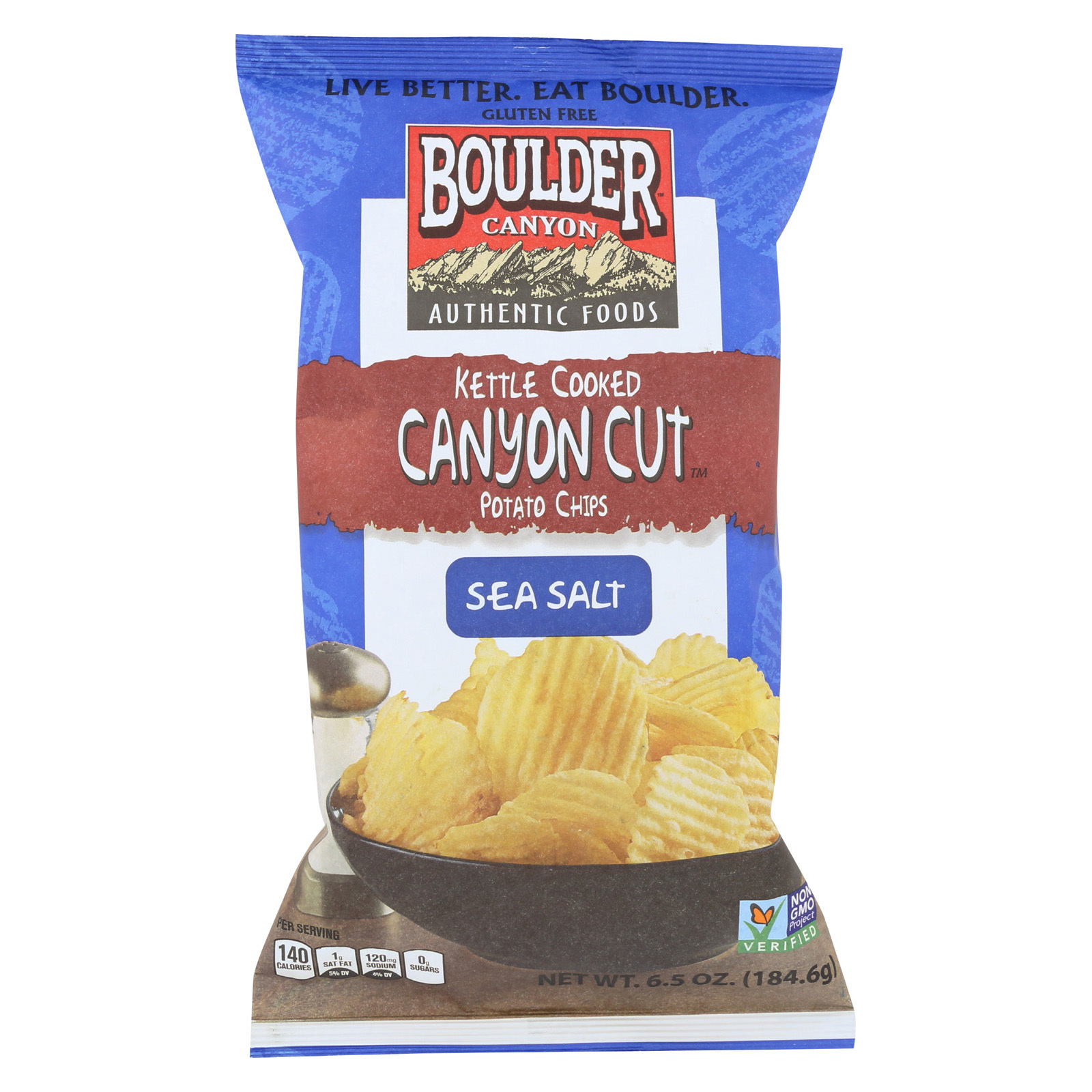 Boulder Canyon Natural Foods Kettle Cooked Canyon Cut Potato Chips -Natural - Case of 12 - 6.5 oz