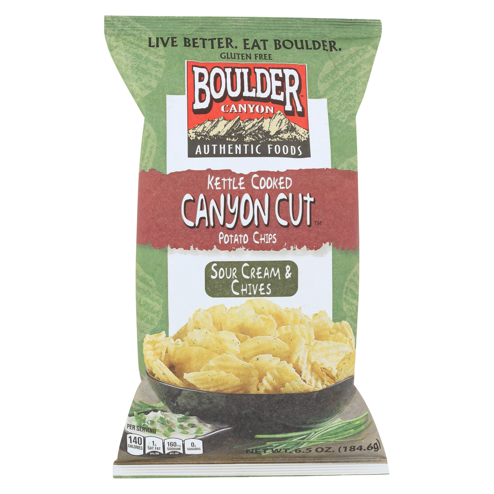 Boulder Canyon Natural Foods Kettle Cooked Canyon Cut Potato Chips -Sour Cream & Chives - Case of 12 - 6.5 oz