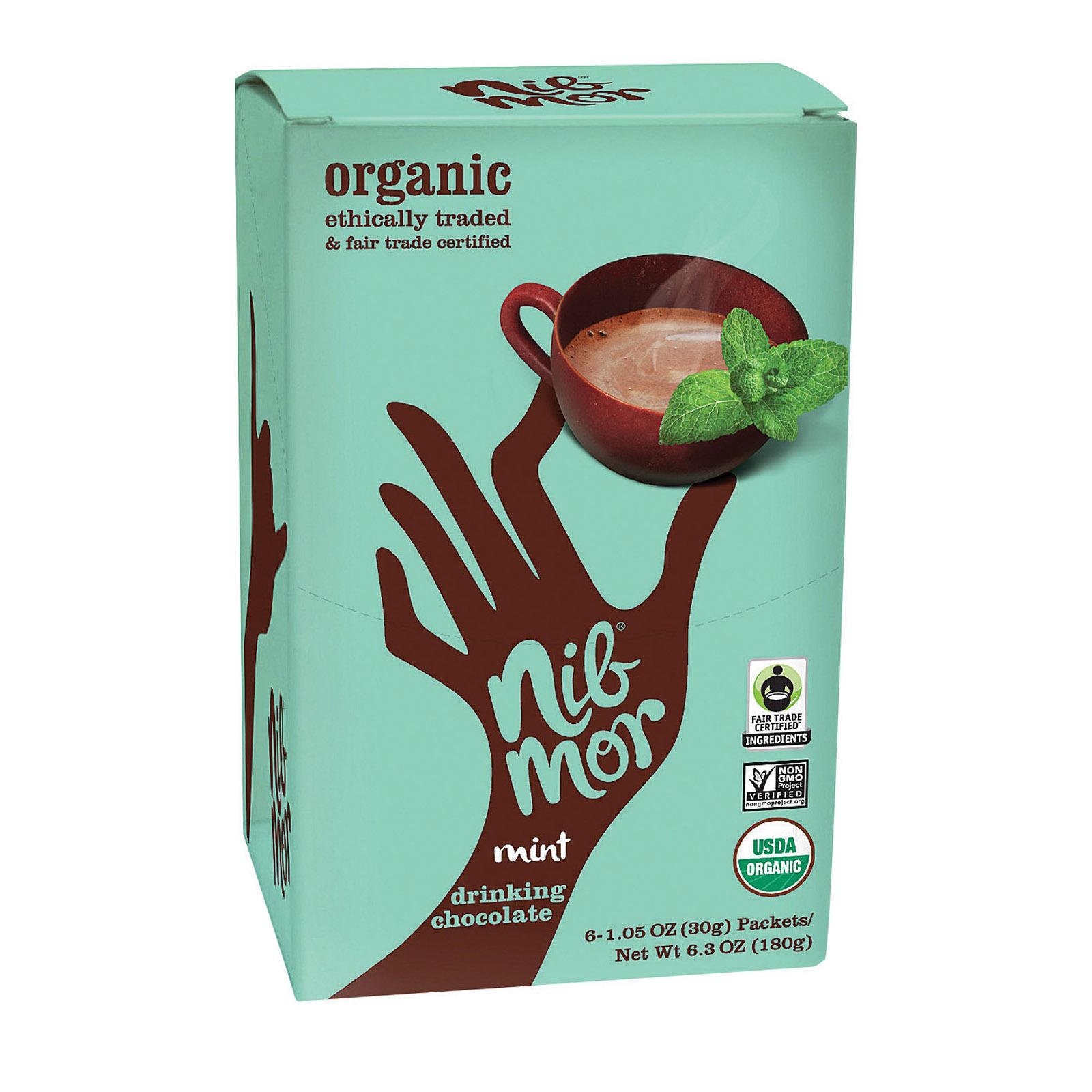 Nibmor Organic Drinking Chocolate - Mint - Case of 6 - 1.05 oz