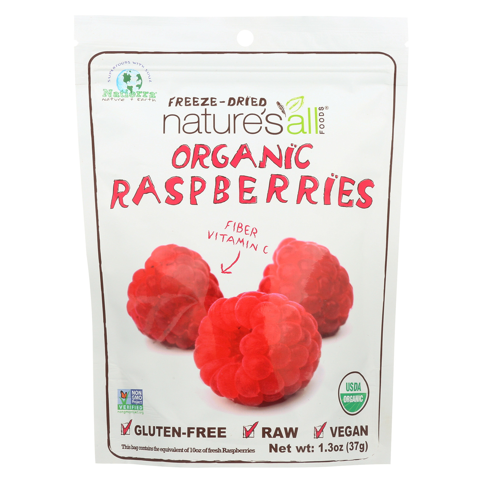 Natierra Freeze Dried - Raspberries - Case of 12 - 1.3 oz.