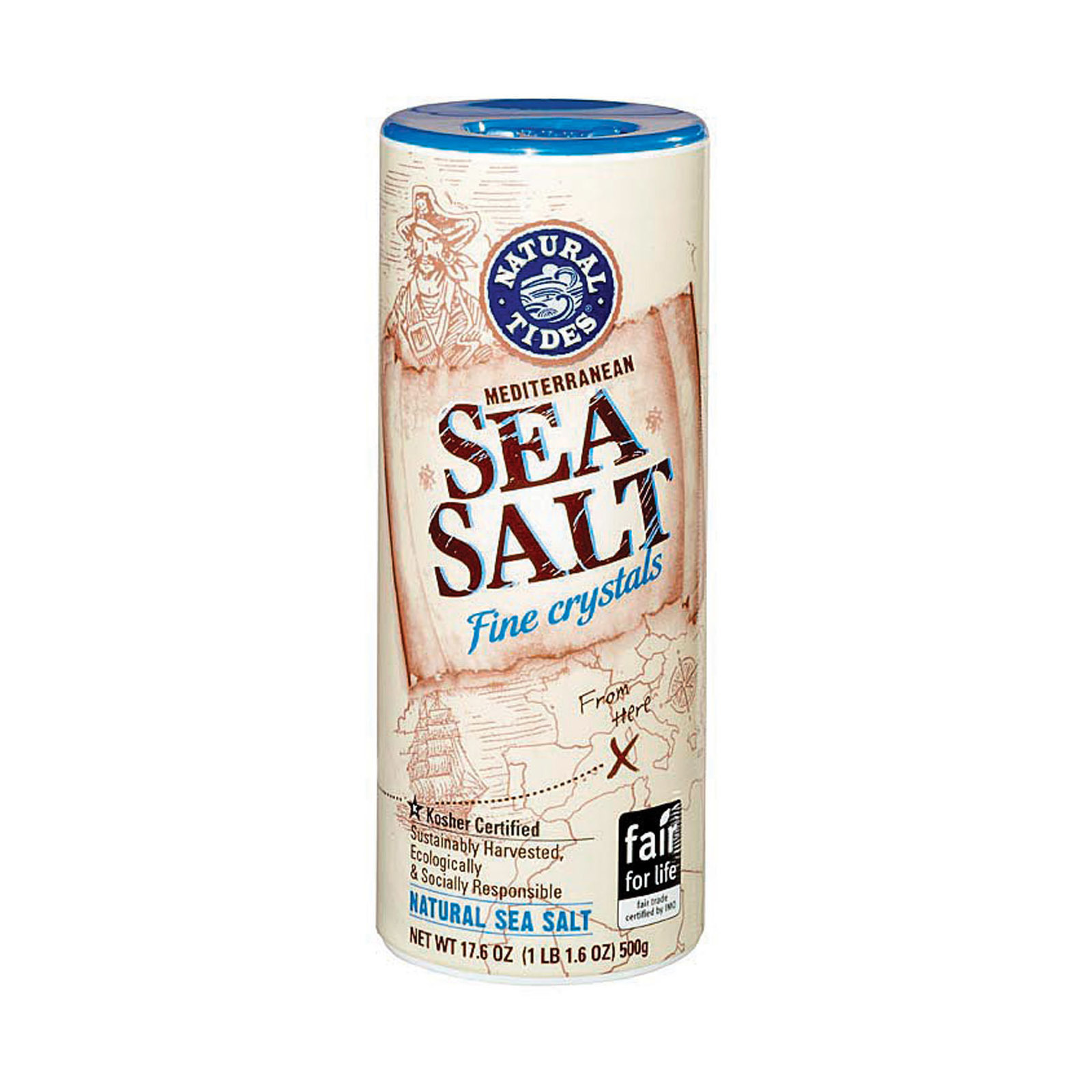 Natural Tides Mediterranean Sea Salt - Fine Crystals - Case of 12 - 17.6 oz.