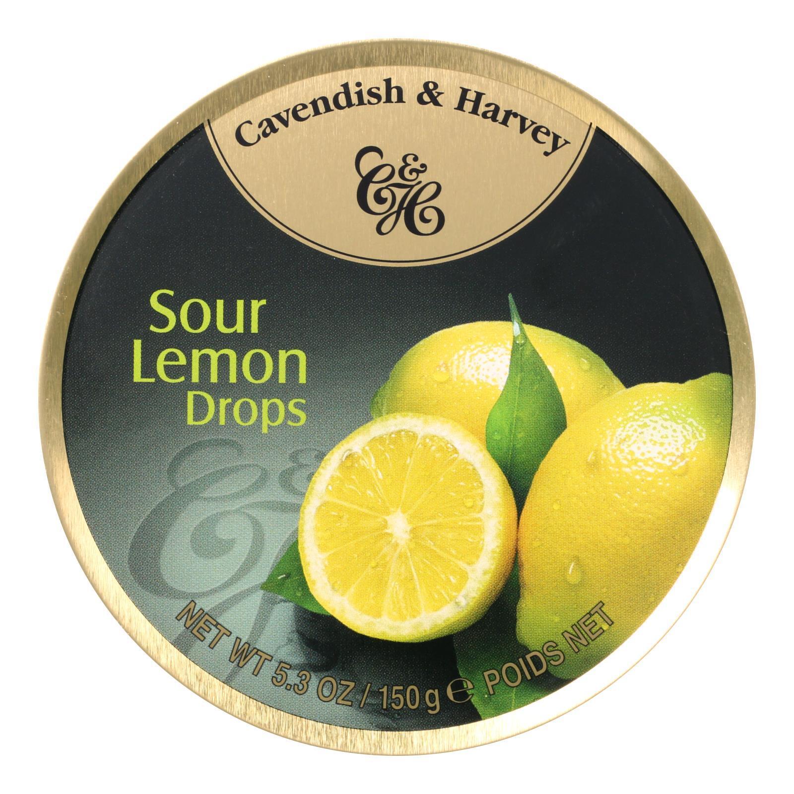 Cavendish and Harvey Fruit Drops Tin - Sour Lemon - 5.3 oz - Case of 12