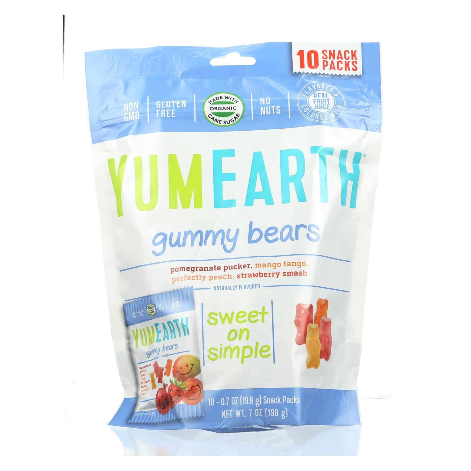Yummy Earth Organics Gummy Bears - Organic - Snack Pack - .7 oz - 10 Count - Case of 12