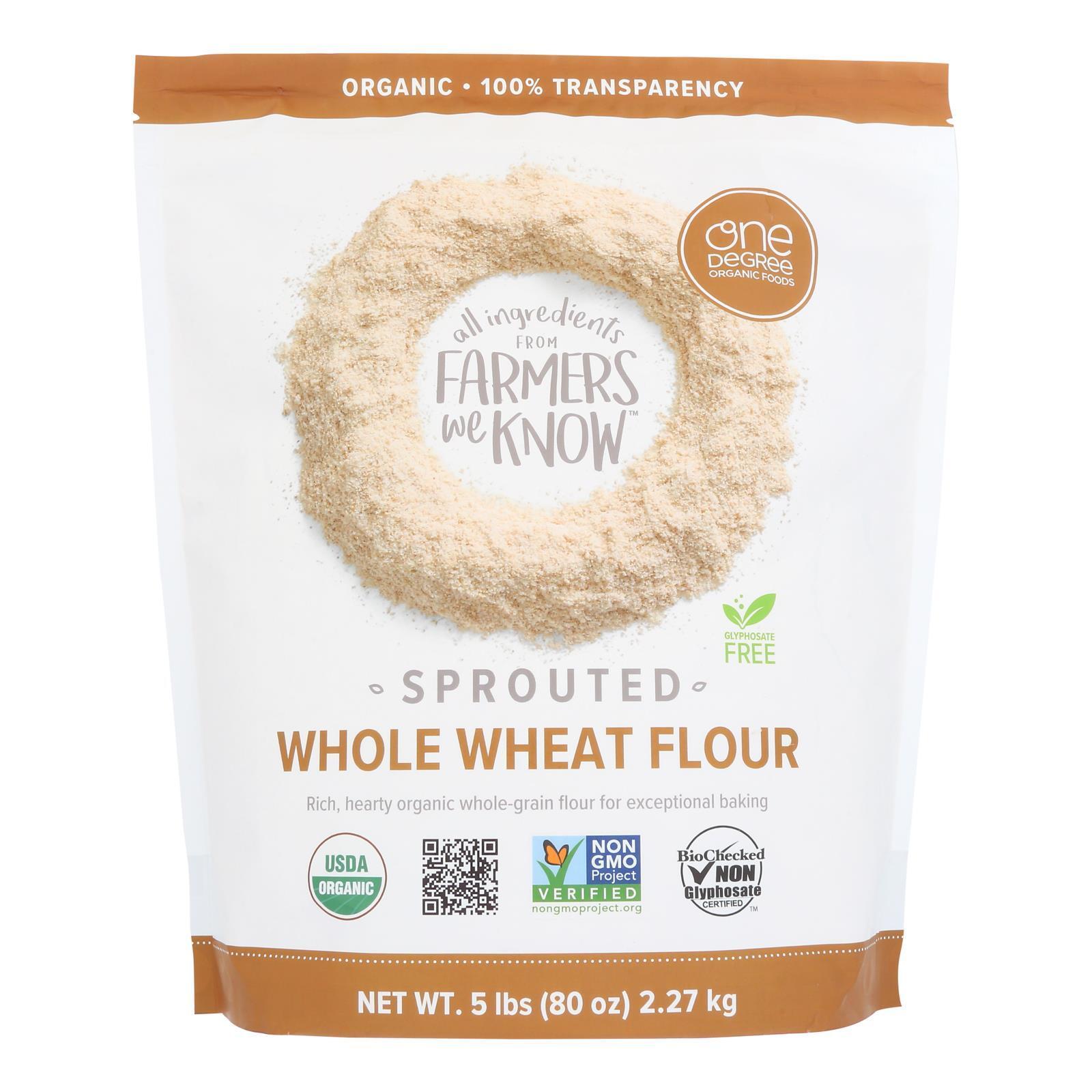 One Degree Organic Foods Whole Wheat Flour - Organic - Case of 4 - 80 oz.