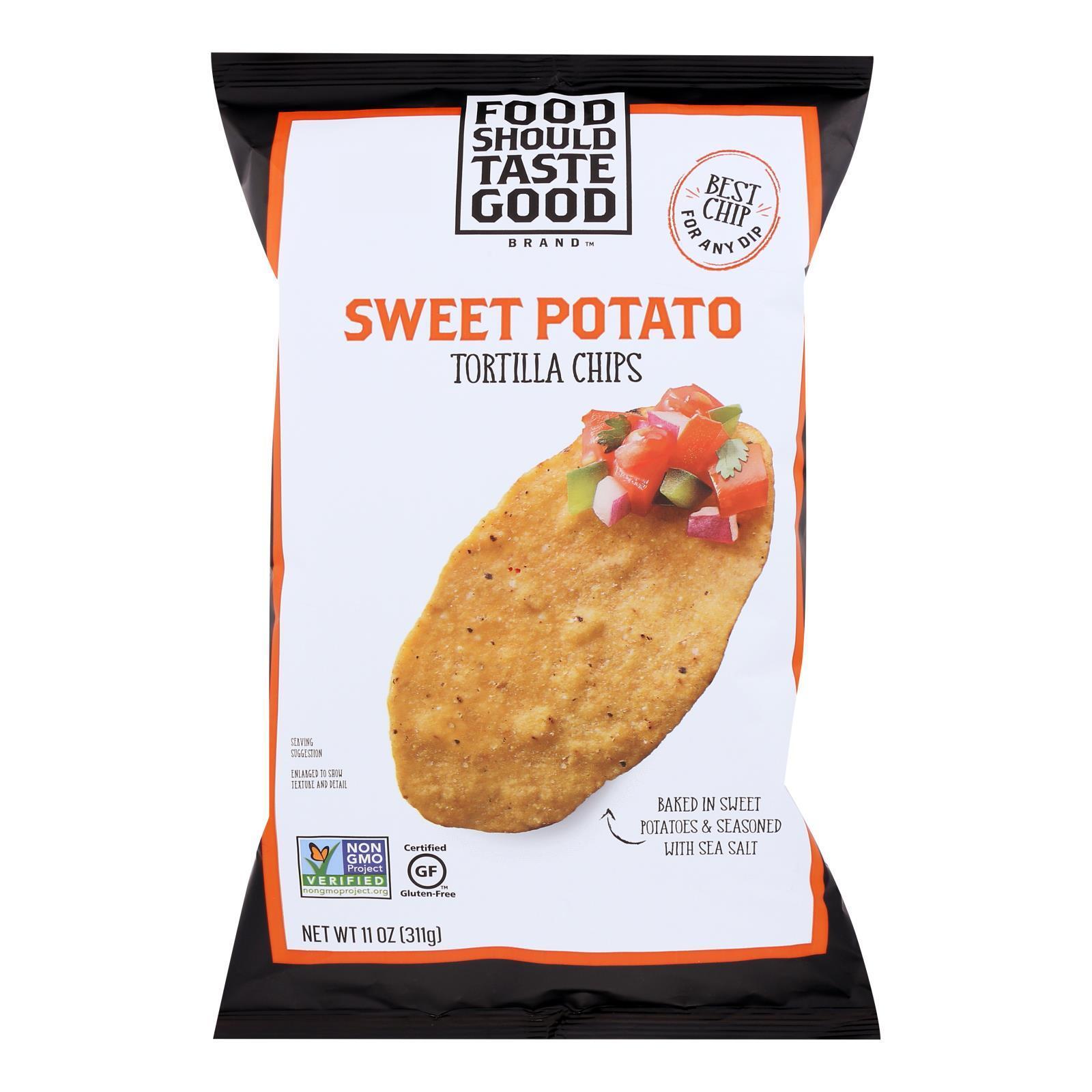 Food Should Taste Good Sweet Potato Tortilla Chips - Sweet Potato - Case of 12 - 11 oz.