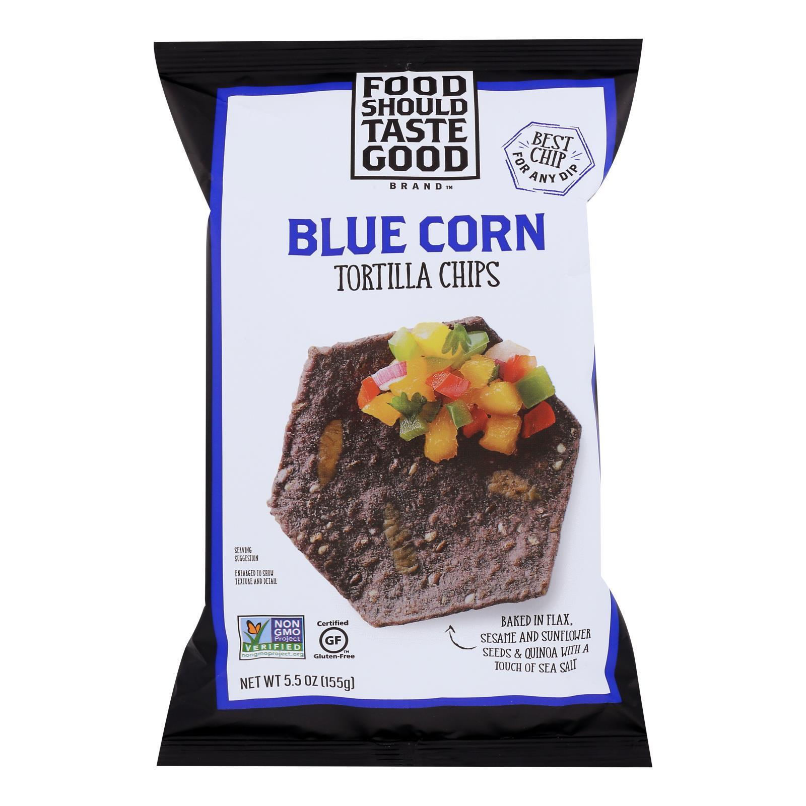 Food Should Taste Good Blue Corn Tortilla Chips - Blue Corn - Case of 12 - 5.5 oz.