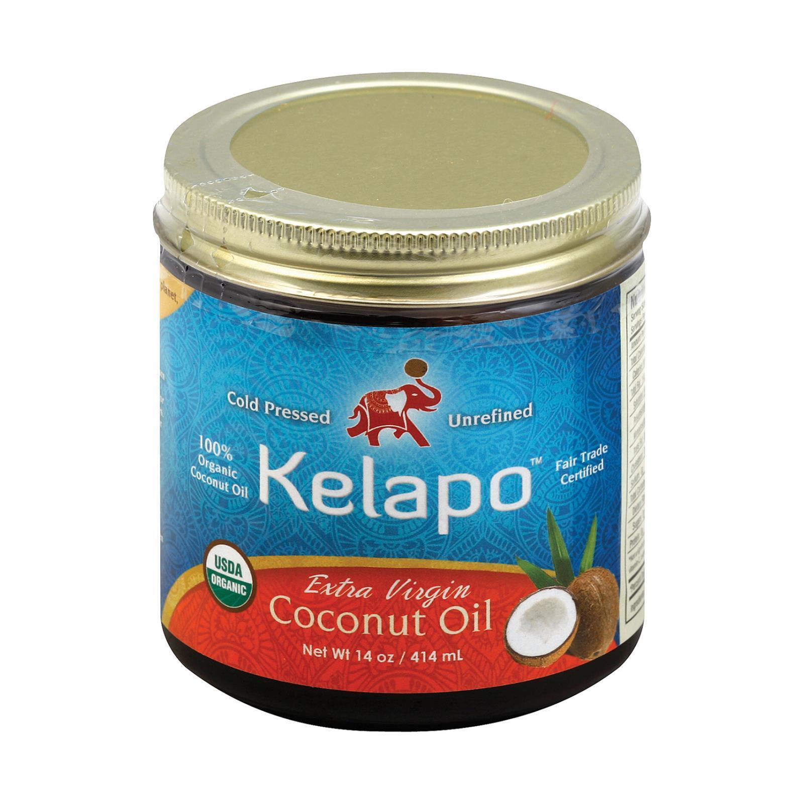 Kelapo Organic Extra Virgin Coconut Oil Amber Glass Jar - Case of 6 - 14 oz.