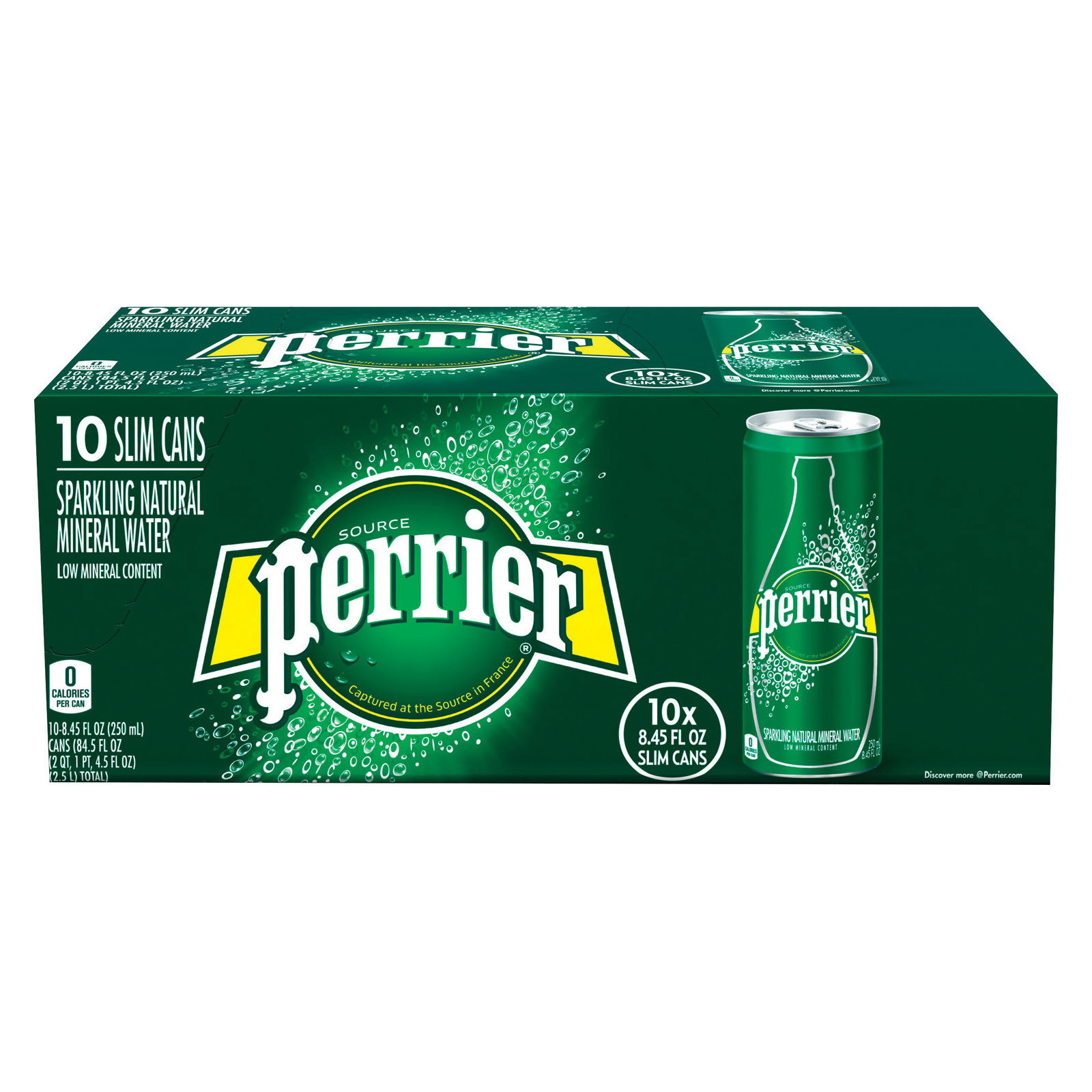 Perrier Sparkling Natural Mineral Water - Plain - Case of 3 - 250 ml