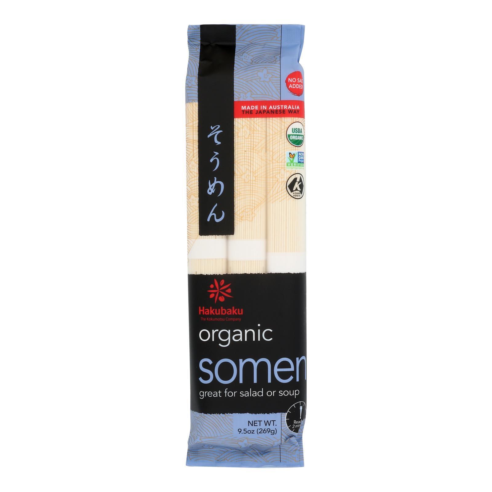Hakubaku 100% Organic Noodles - Somen - Case of 8 - 9.52 oz