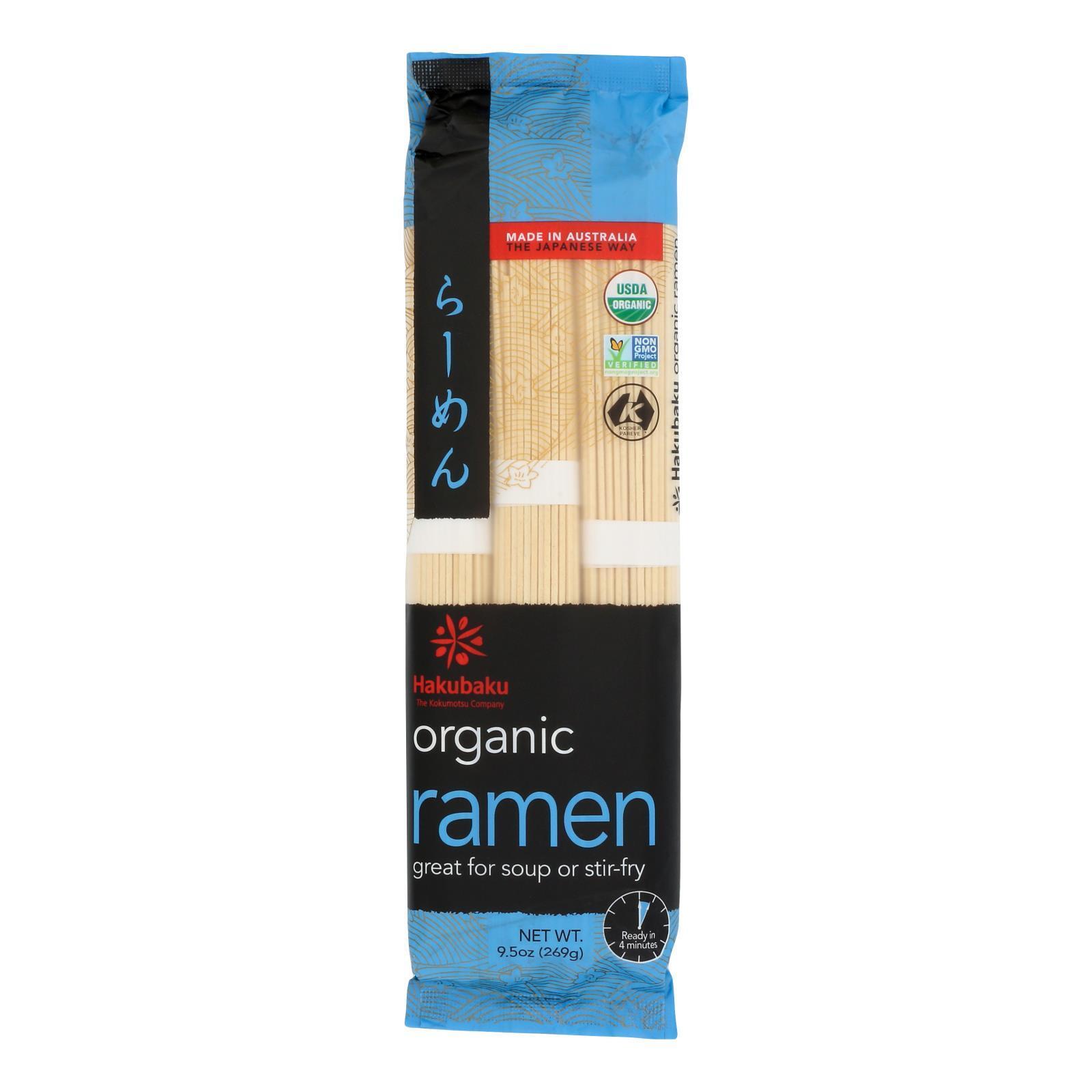 Hakubaku Organic Noodles - Ramen - Case of 8 - 9.52 oz