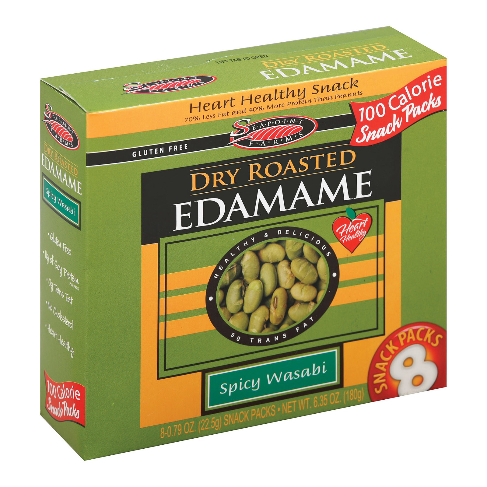 Seapoint Farms Dry Roasted Edamame - Spicy Wasabi - Case of 12 - 0.79 oz.