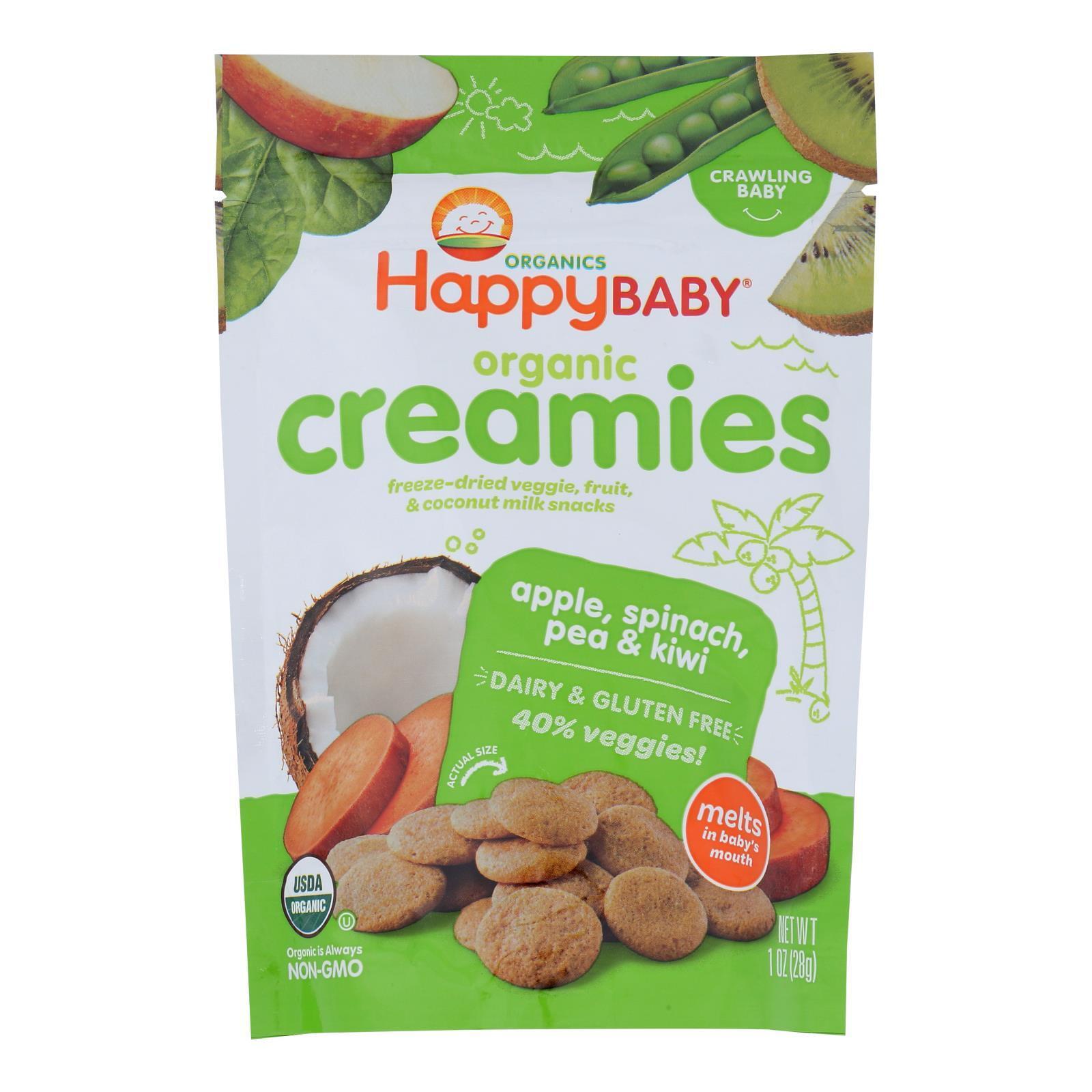 Happy Creamies Organic Snacks - Apple Spinach Pea Kiwi - Case of 8 - 1 oz