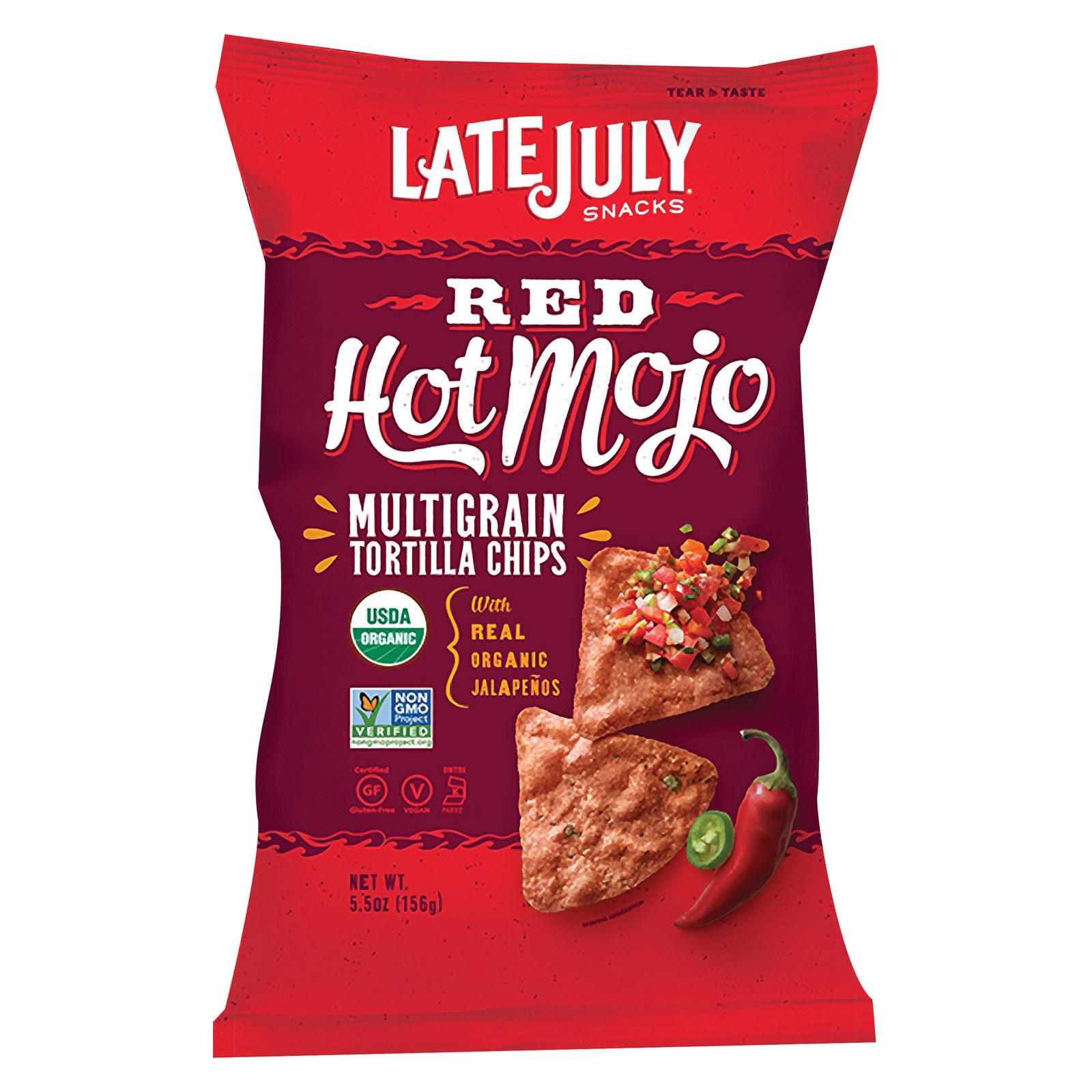 Late July Snacks Organic Multigrain Snack Chips - Red Hot Mojo - Case of 12 - 5.5 oz.