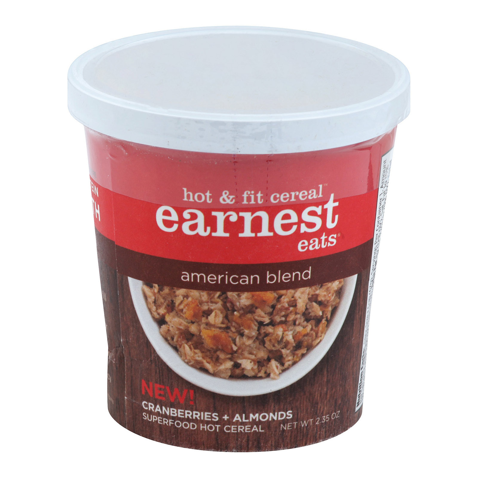 Earnest Eats American Blend Hot and Fit Cereal Cups - Case of 12 - 2.35 oz.