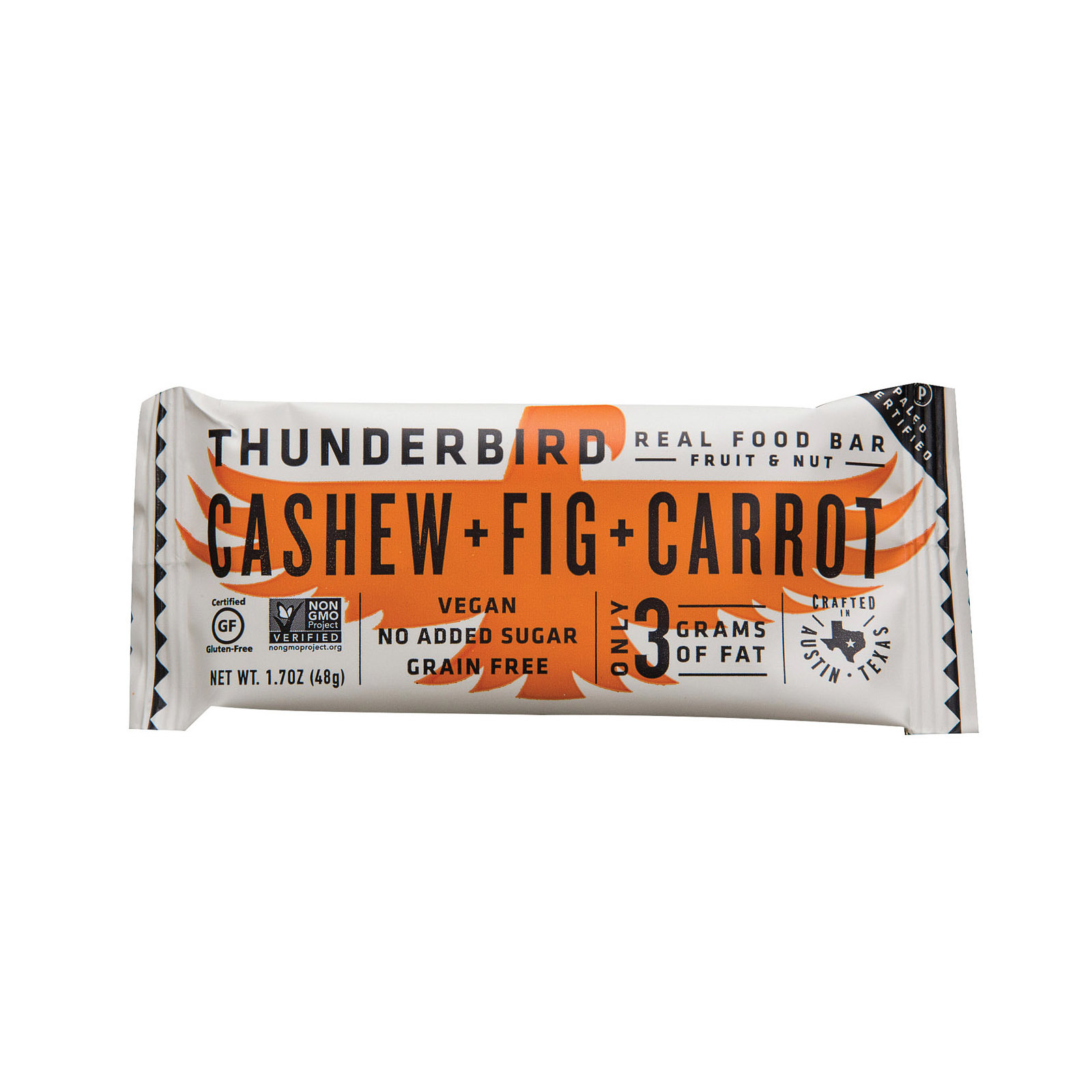 Thunderbird Real Food Bar - Cashew + Fig + Carrot - Case of 15 - 1.7 oz