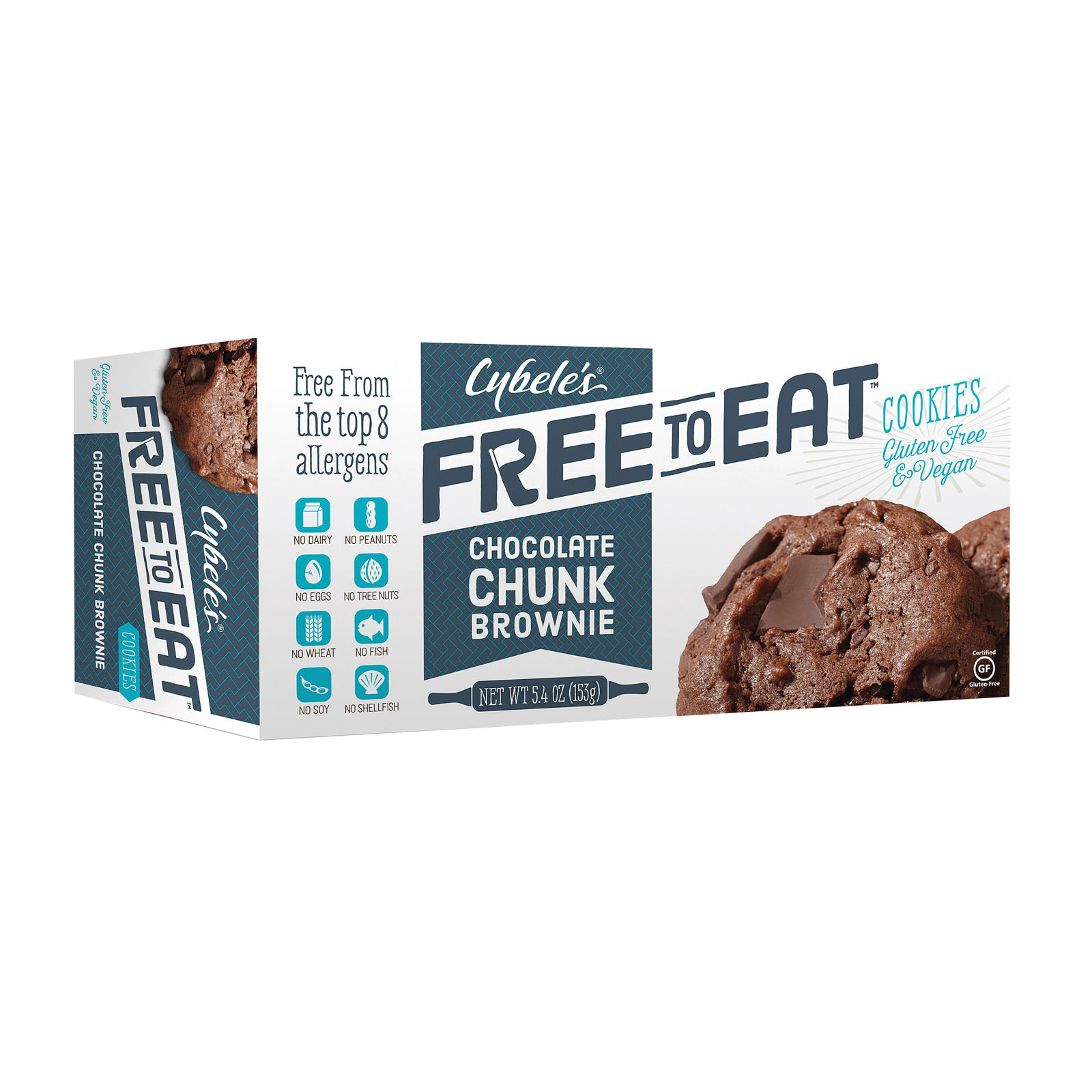 Cybel's Free To Eat Chocolate Chunk Brownie Cookies - Case of 6 - 5.4 oz.