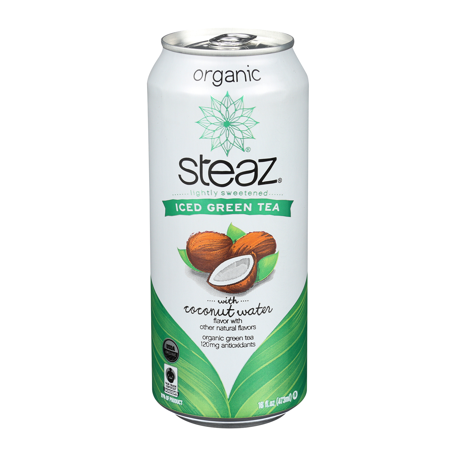 Steaz Lightly Sweetened Green Tea - Coconut Water - Case of 12 - 16 Fl oz.