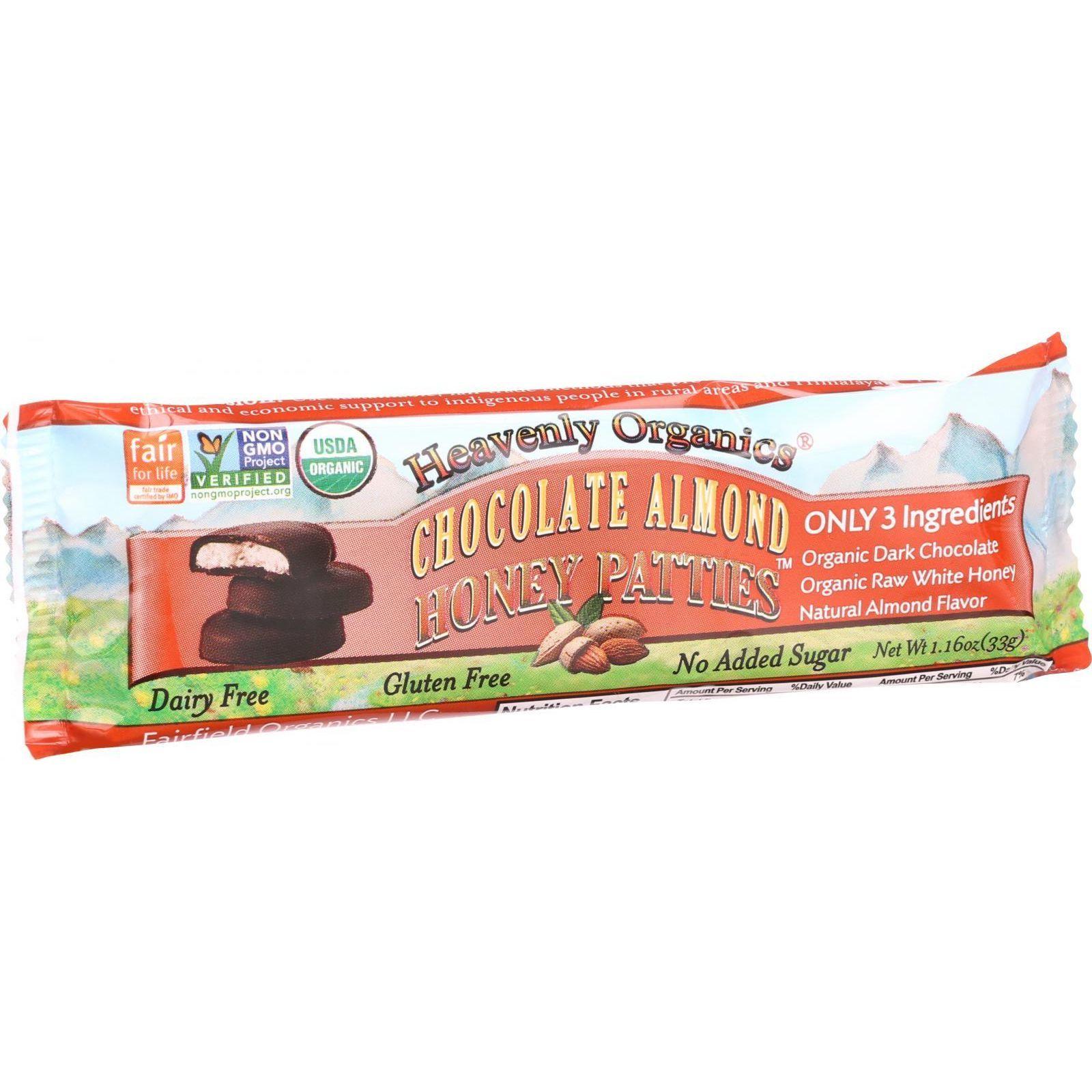 Heavenly Organics Honey Patties - Chocolate Almond - 1.2 oz - Case of 16