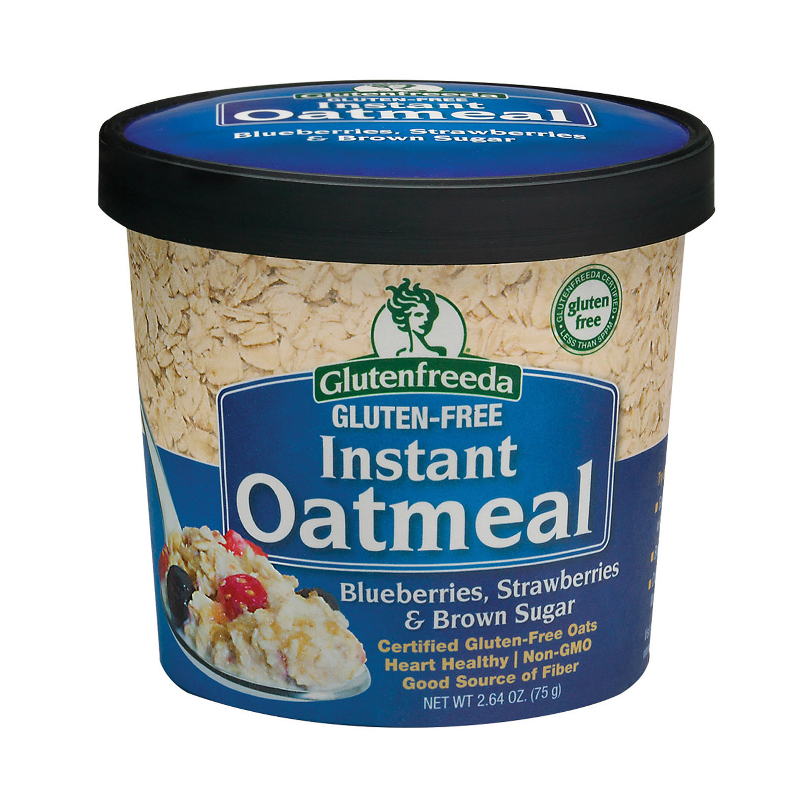 Gluten Freeda Instant Oatmeal Cup - Blueberry, Strawberries and Brown Sugar - Case of 12 - 2.64 oz.