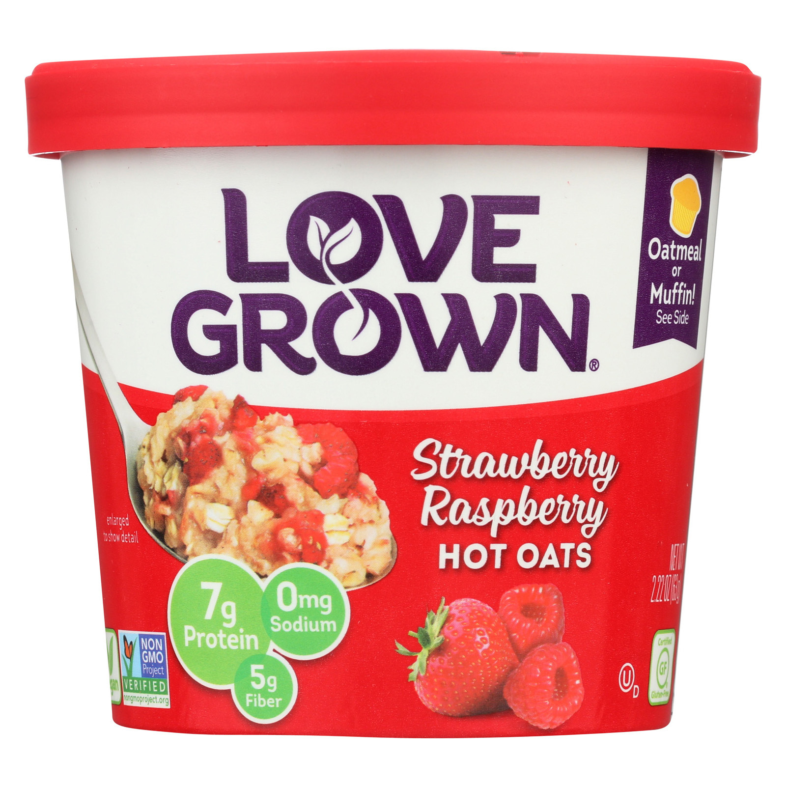 Love Grown Foods Hot Oats - Strawberry and Raspberry - Case of 8 - 2.22 oz.