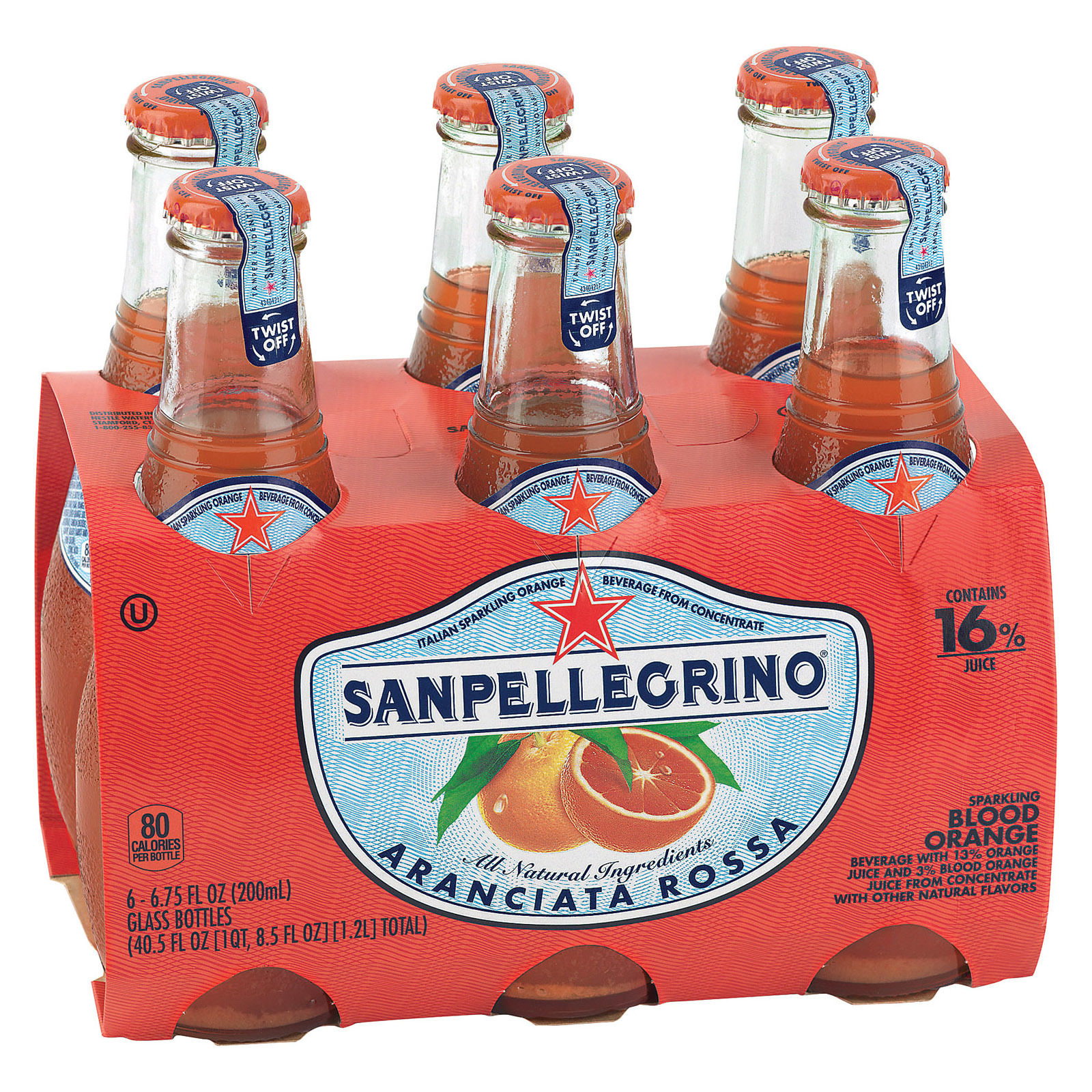 San Pellegrino Sparkling Water - Aranciata Rossa - Case of 4 - 6.75 Fl oz.