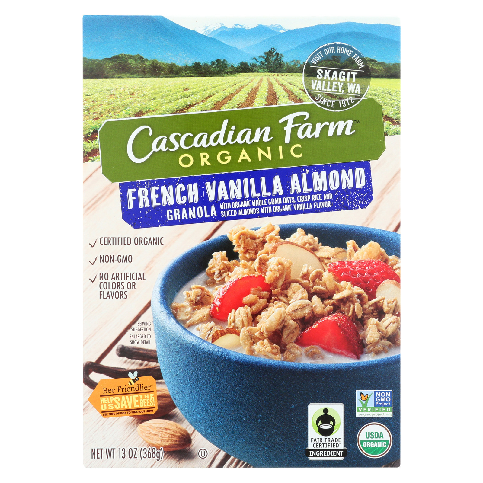 Cascadian Farm Organic Granola - French Vanilla Almond - Case of 6 - 13 oz.