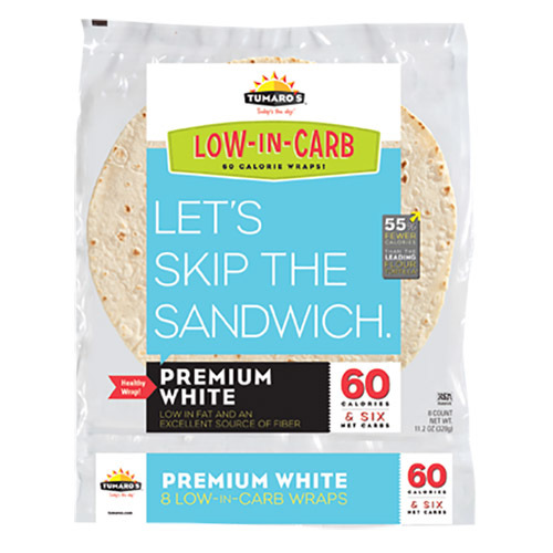 Tumaros Low-In-Carb Wraps - Premium White - 8