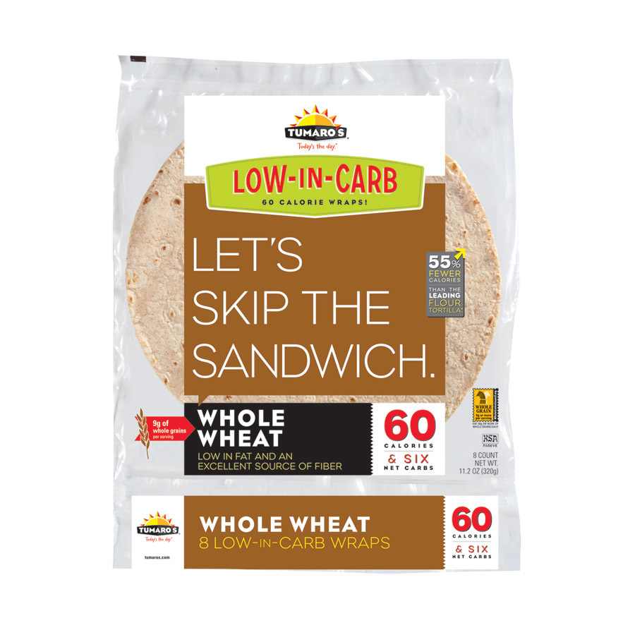 Tumaros Low-In-Carb Wraps - Whole Wheat - 8