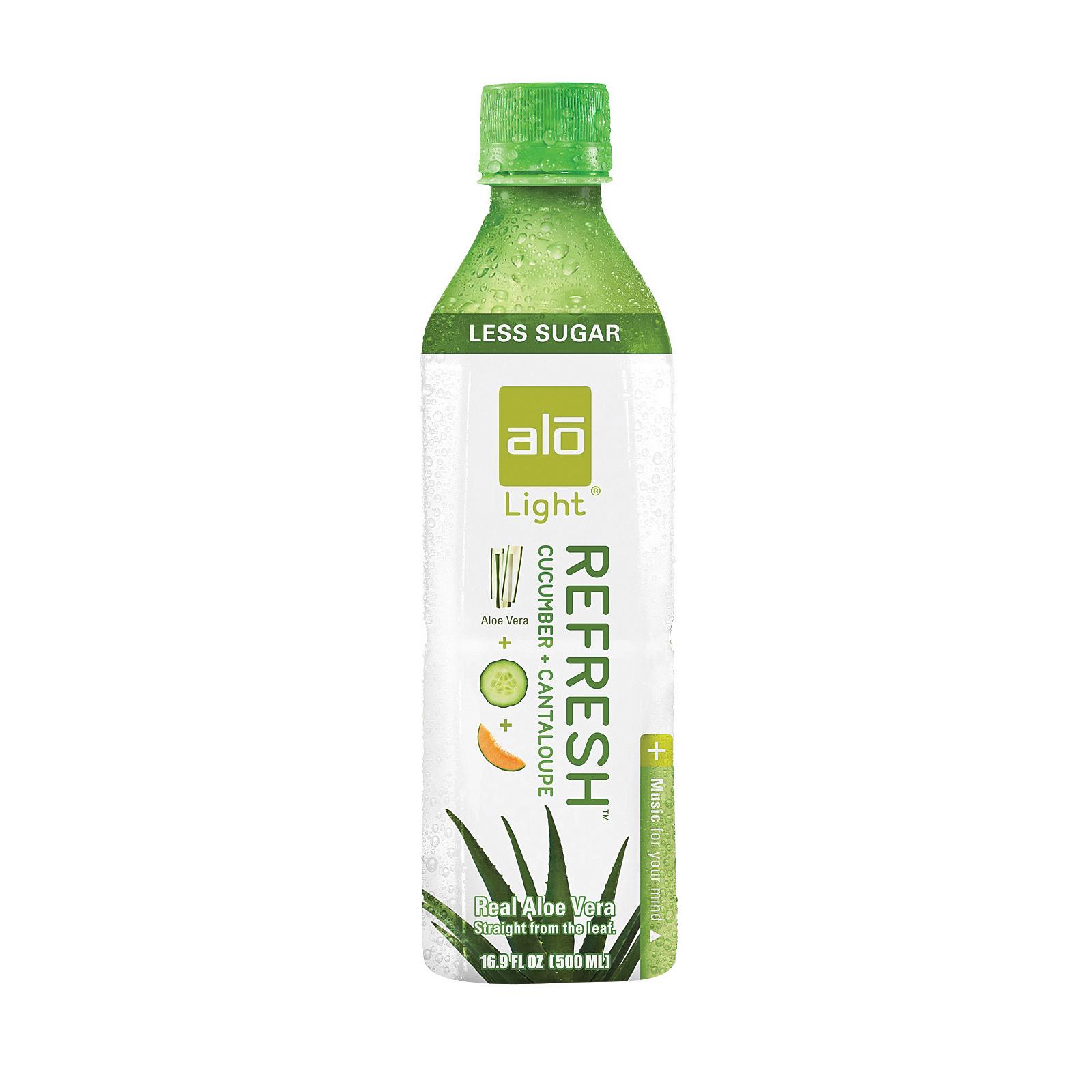 Alo Light Refresh Aloe Vera Juice Drink - Cucumber and Cantaloupe - Case of 12 - 16.9 fl oz.
