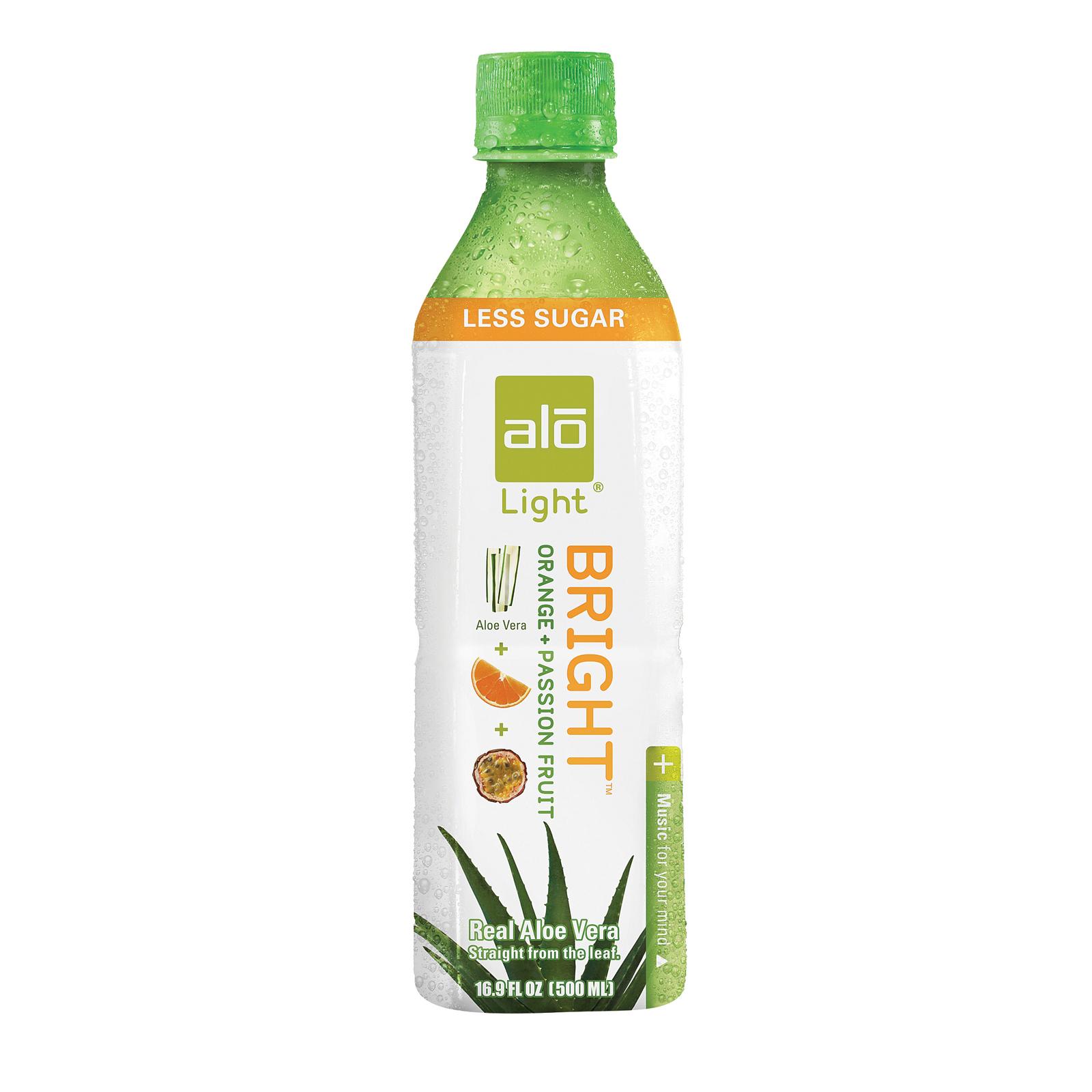 Alo Light Bright Aloe Vera Juice Drink - Orange and Passion Fruit - Case of 12 - 16.9 fl oz.