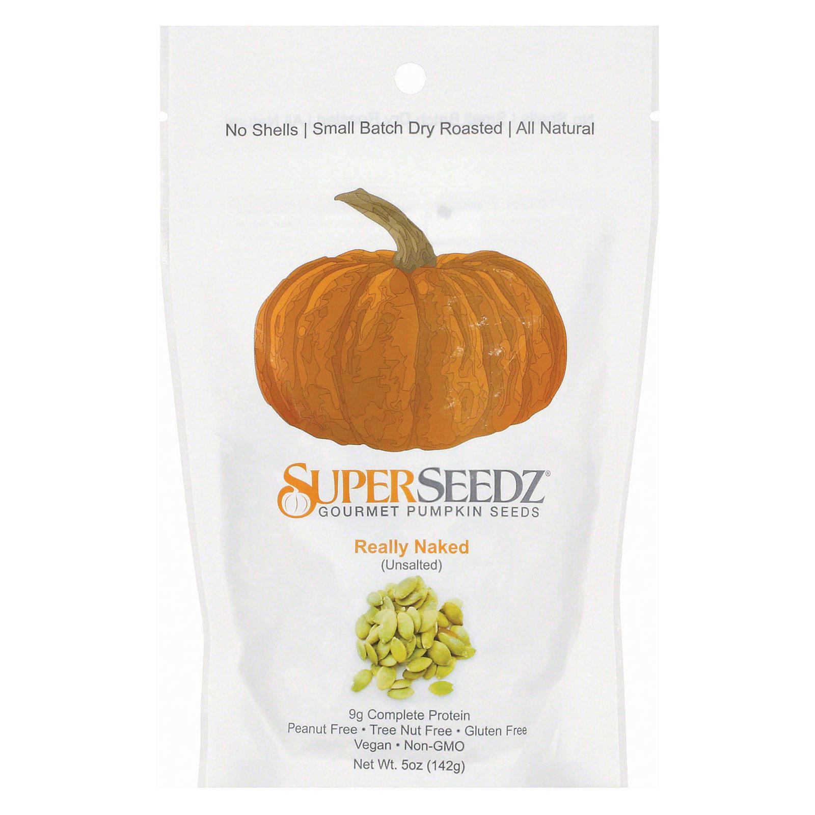 Superseedz Gourmet Pumpkin Seeds - Really Naked - Case of 6 - 5 oz.