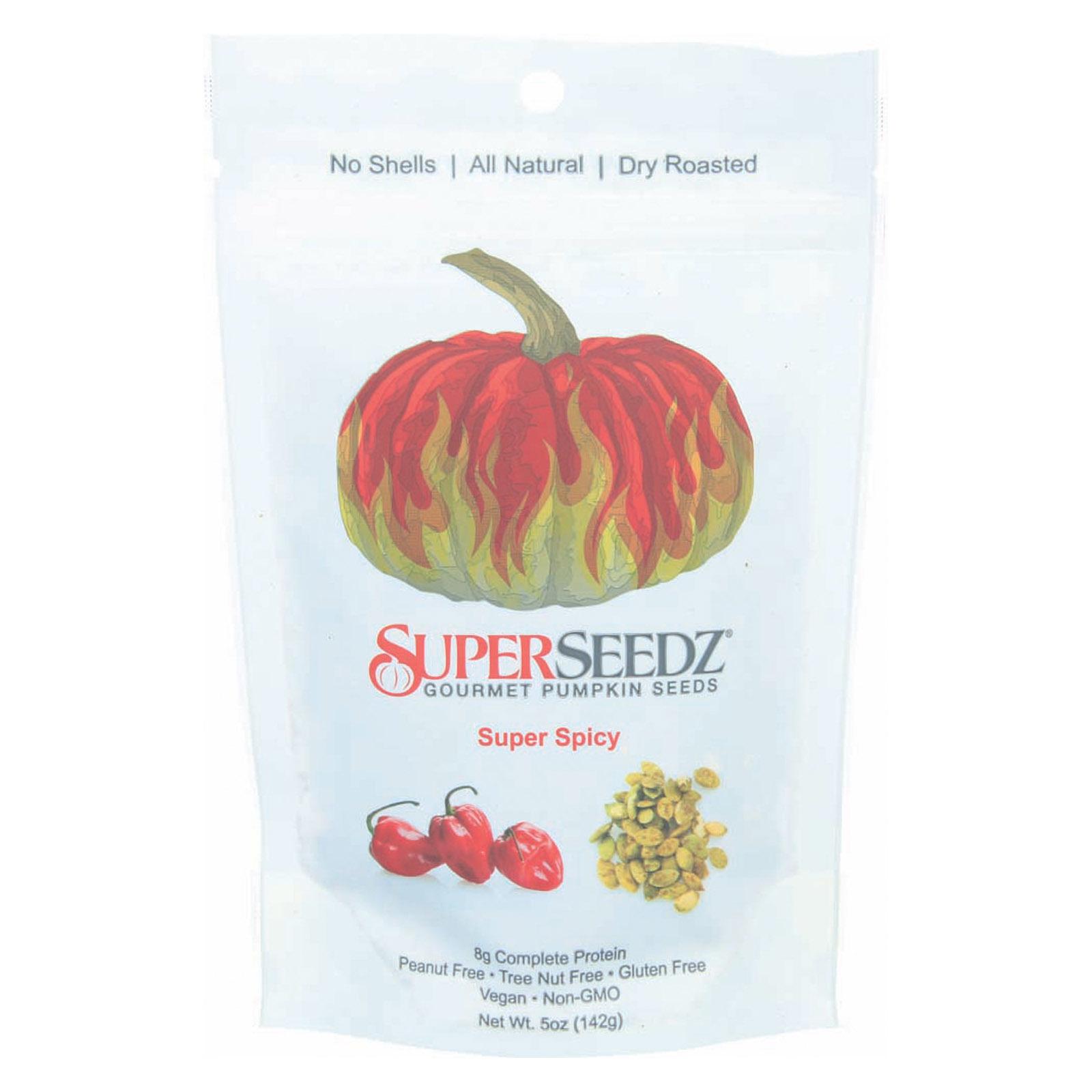 Superseedz Gourmet Pumpkin Seeds - Super Spicy - Case of 6 - 5 oz.