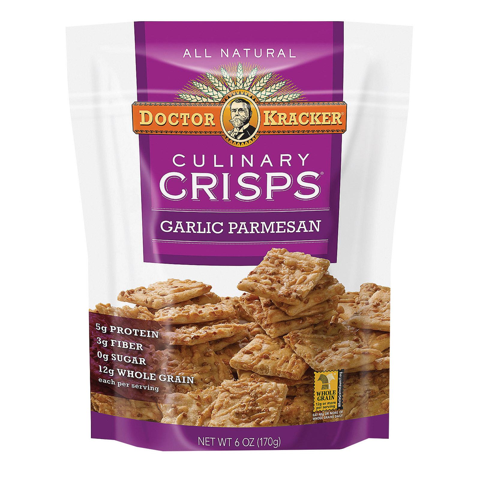 Doctor Kracker Garlic Parmesan Culinary Crisps - Case of 6 - 6 oz.