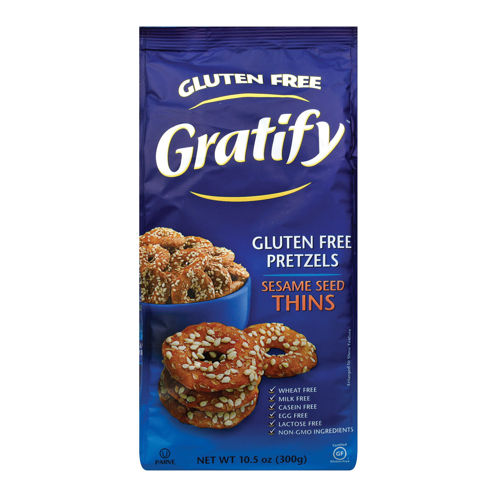 Gratify Pretzl Thins - Sesame - Case of 6 - 10.5 oz.