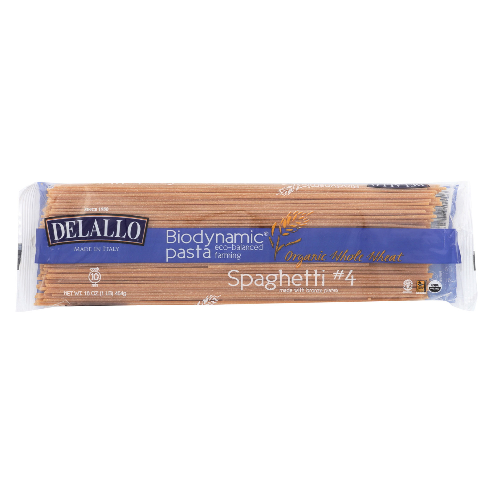 Delallo Biodynamic - Organic - Whole Wheat - Spaghetti - Case of 16 - 16 oz
