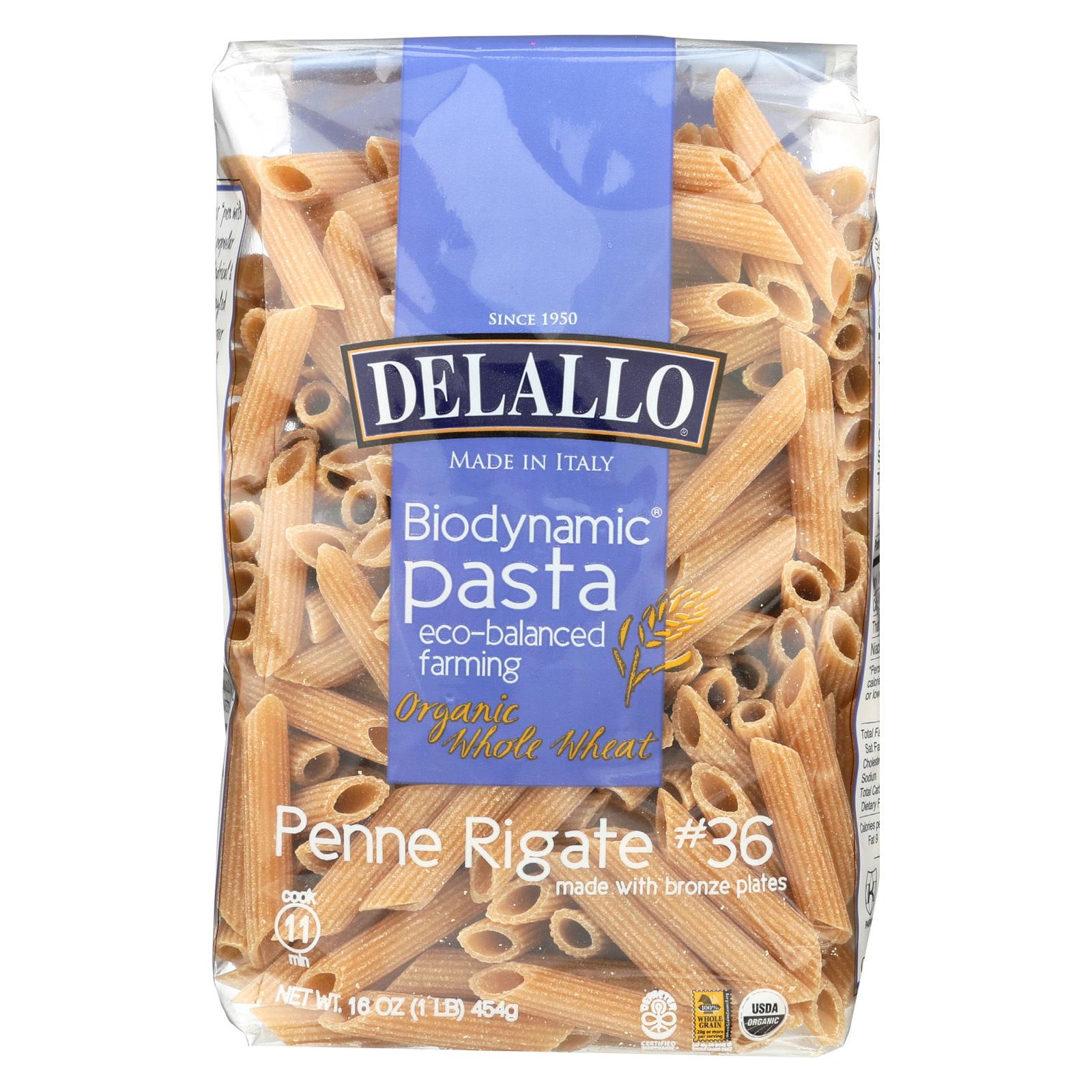Delallo Biodynamic - Organic - Whole Wheat - Pnne Rigat - Case of 16 - 16 oz