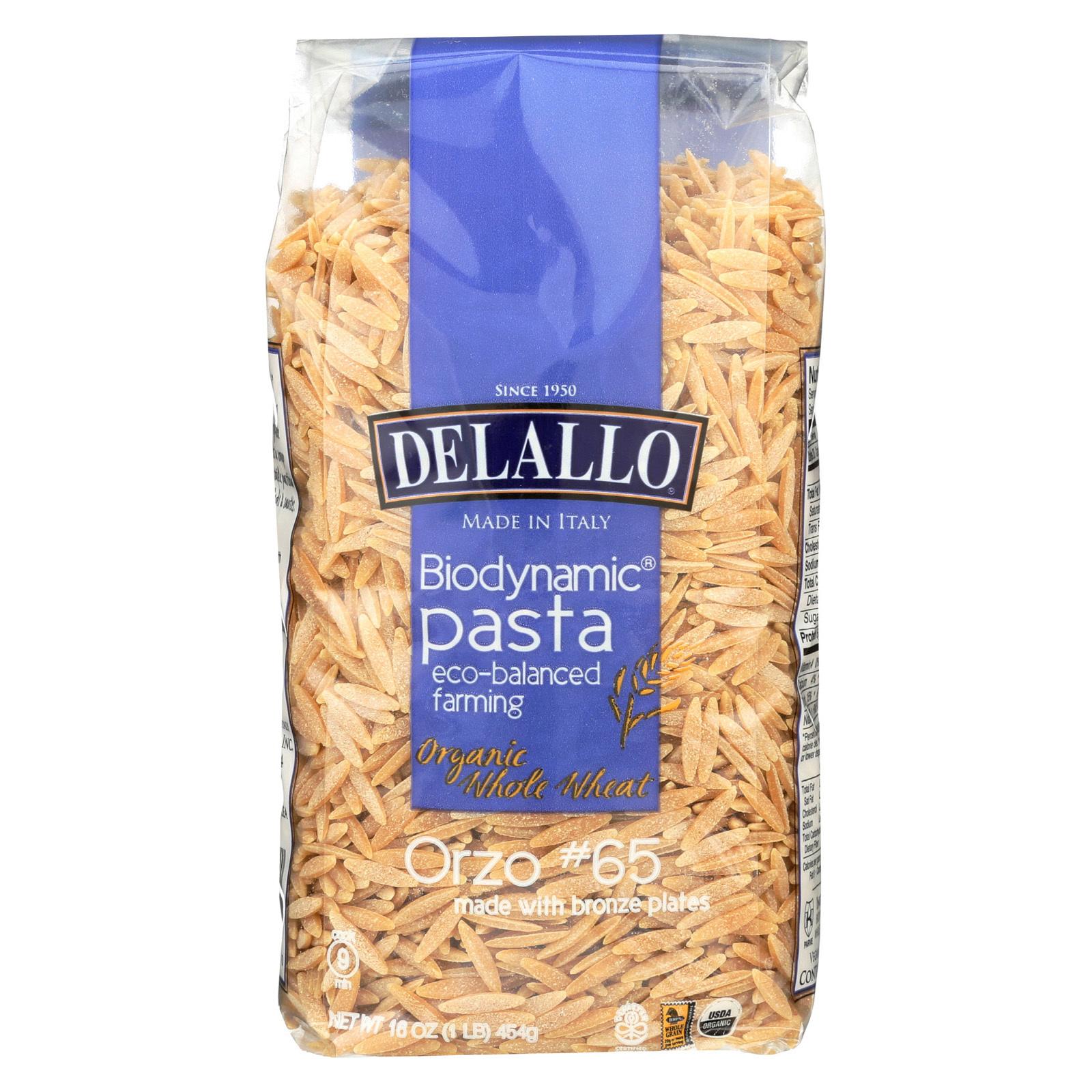 Delallo Biodynamic - Organic - Whole Wheat - Orzo - Case of 16 - 16 oz