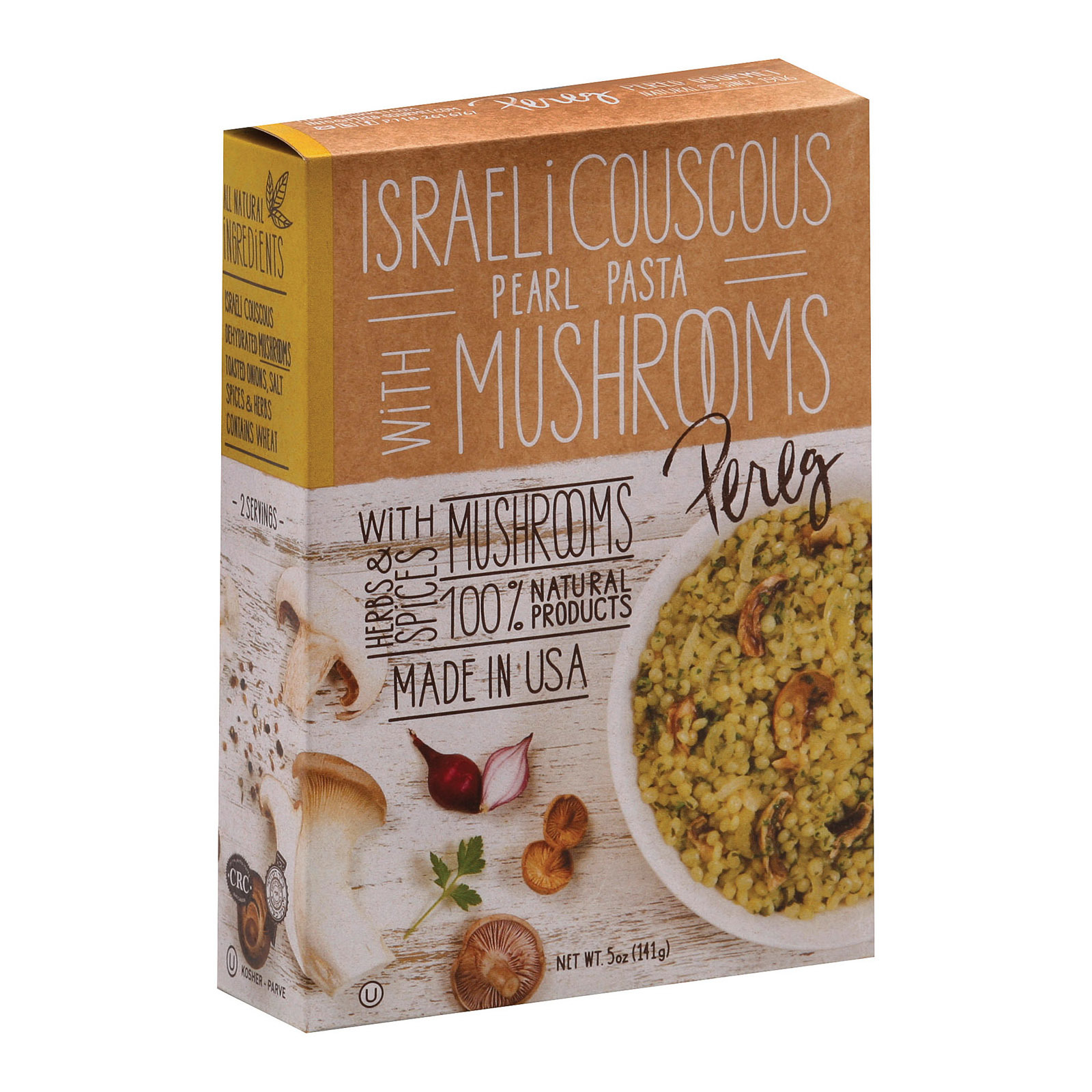 Pereg Israeli Couscous with Mushrooms - Case of 6 - 5 oz.