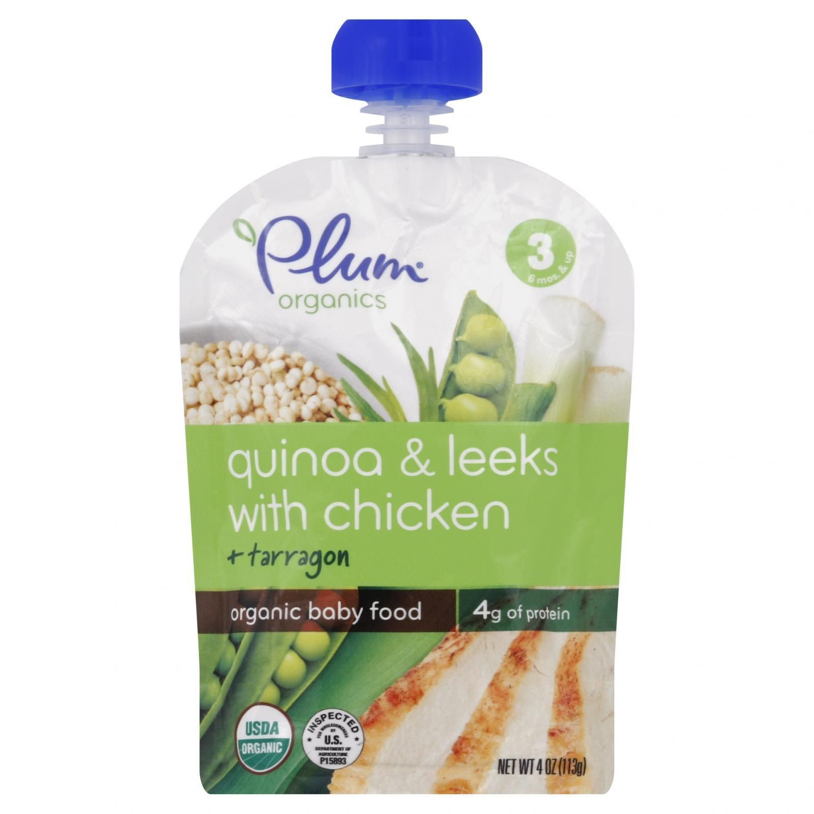 Plum Organics Baby Food - Organic - Quinoa and Leeks with Chicken and Tarragon - Stage 3 - 6 Months and Up - 4 oz - Case of 6