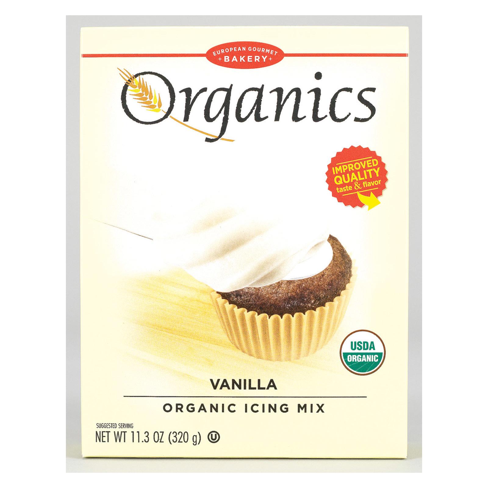 European Gourmet Bakery Organic Vanilla Icing Mix - Vanilla - Case of 12 - 11.3 oz.