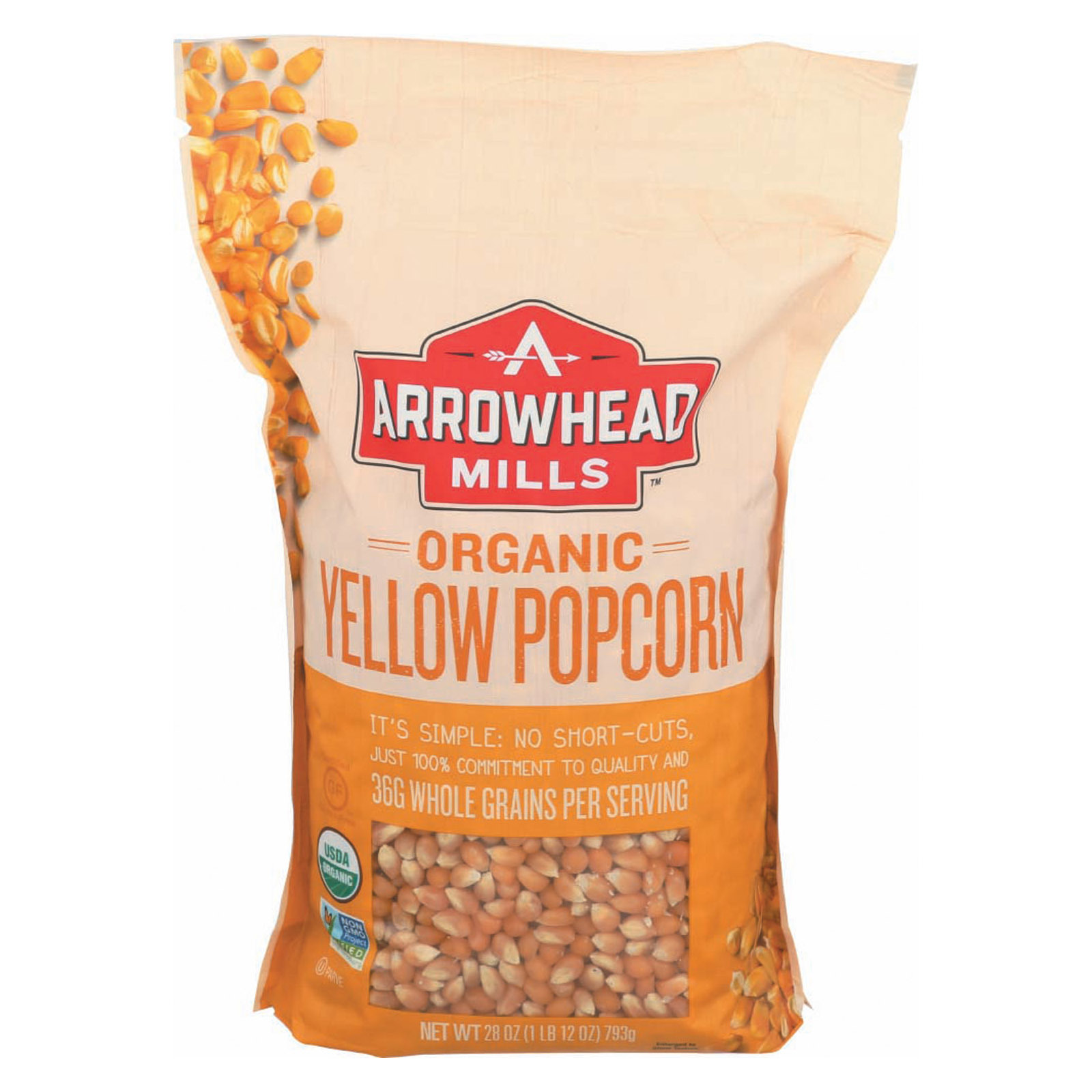 Arrowhead Mills Organic Popcorn - Yellow - Case of 6 - 28 oz.