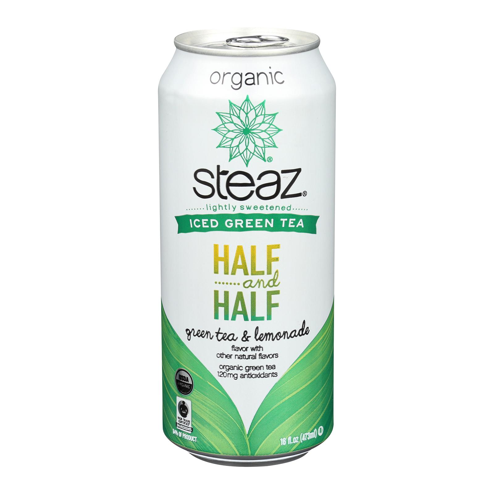 Steaz Lightly Sweetened Green Tea - Half and Half - Case of 12 - 16 Fl oz.