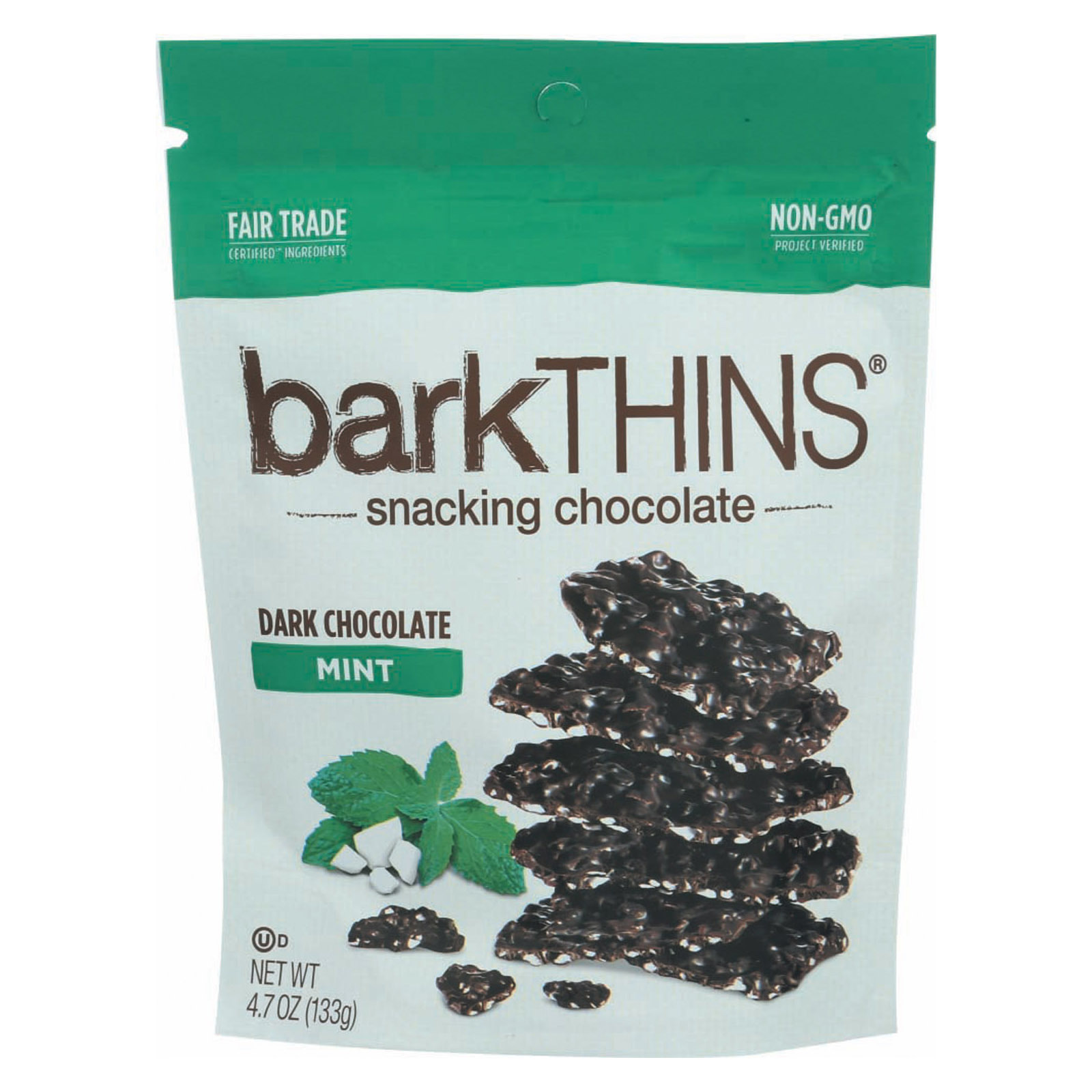 Bark Thins Snacking Dark Chocolate - Mint - Case of 12 - 4.7 oz.