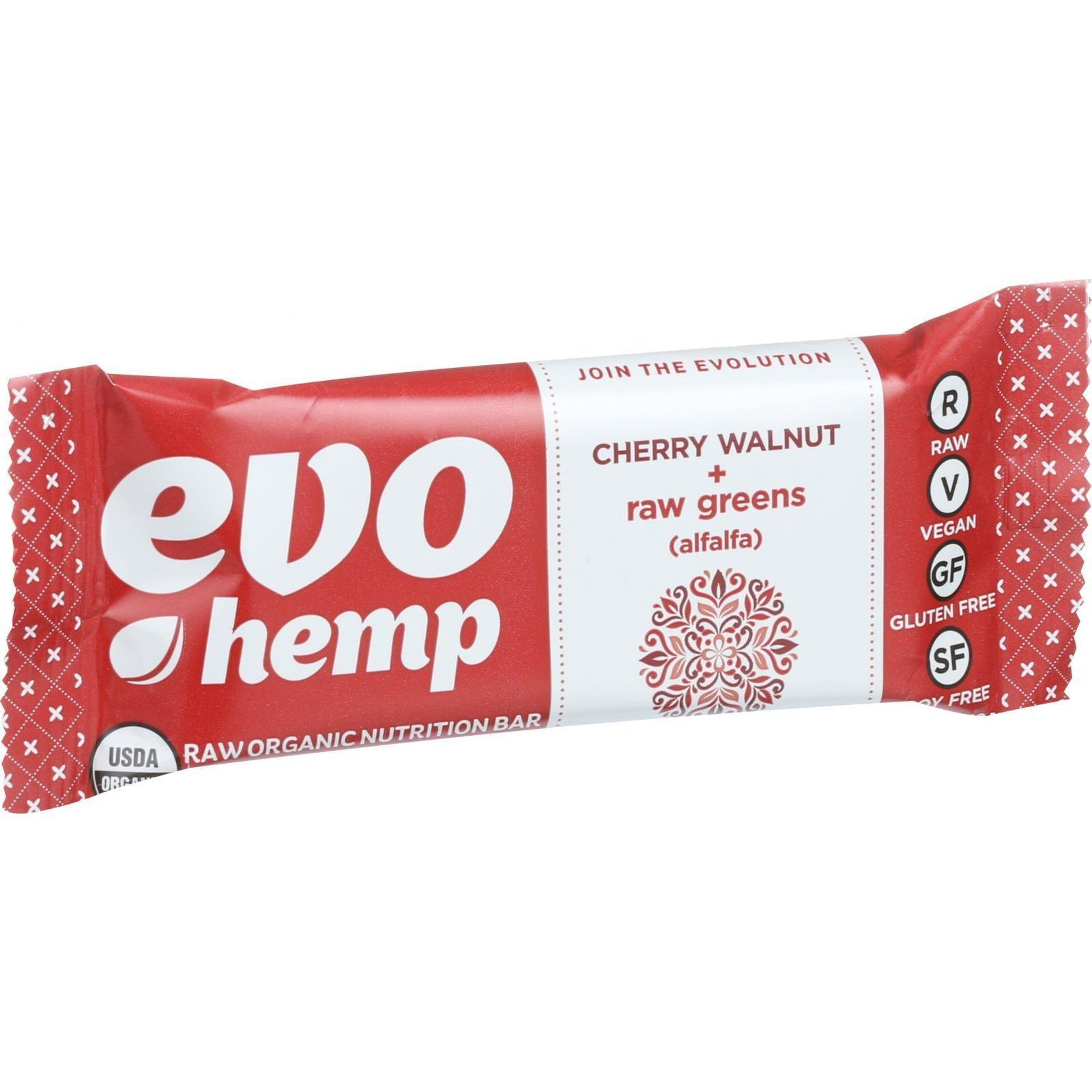 Evo Hemp Organic Hemp Bars - Cherry Walnut Greens - 1.69 oz Bars - Case of 12