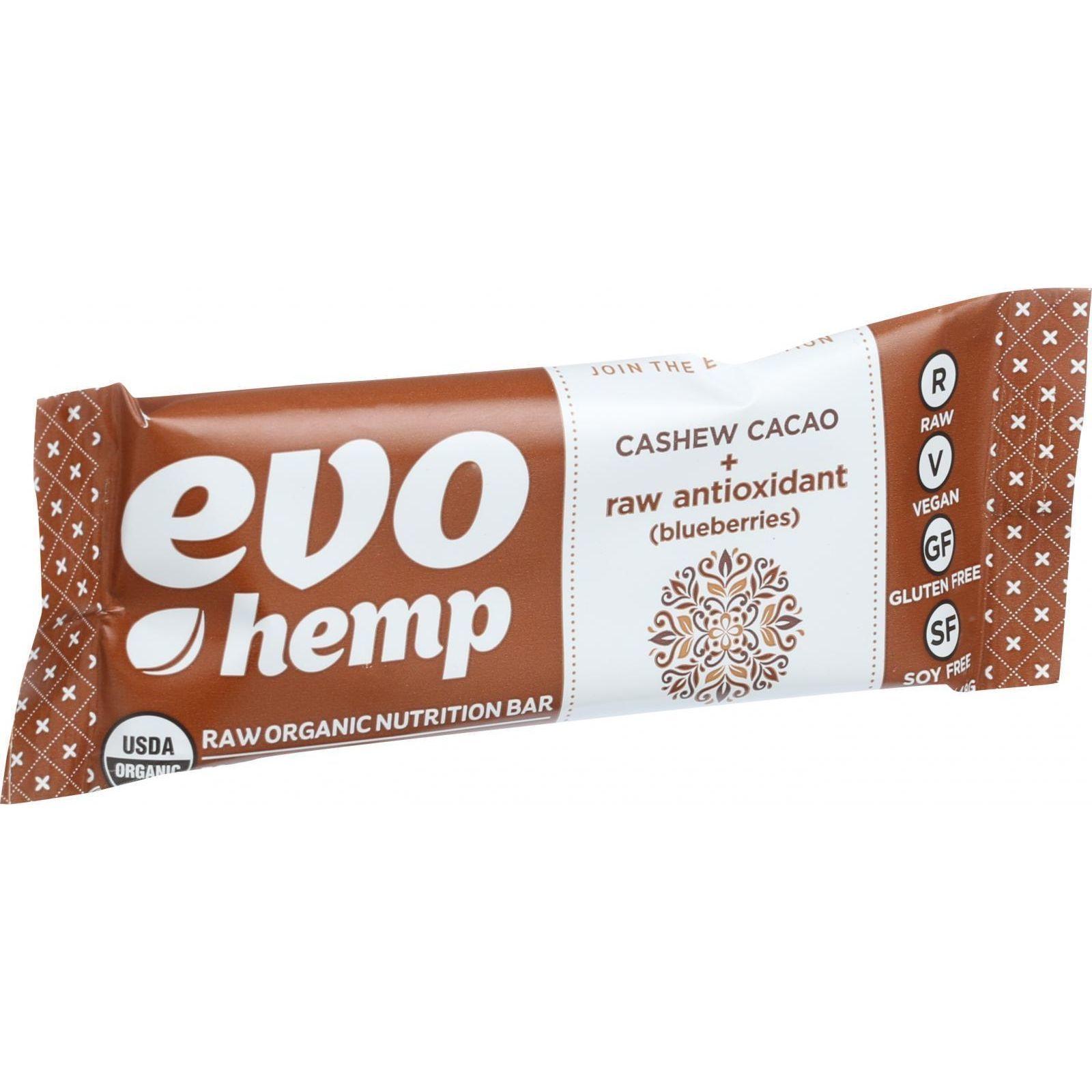 Evo Hemp Organic Hemp Bars - Cashew Cacao Antioxidant - 1.69 oz Bars - Case of 12