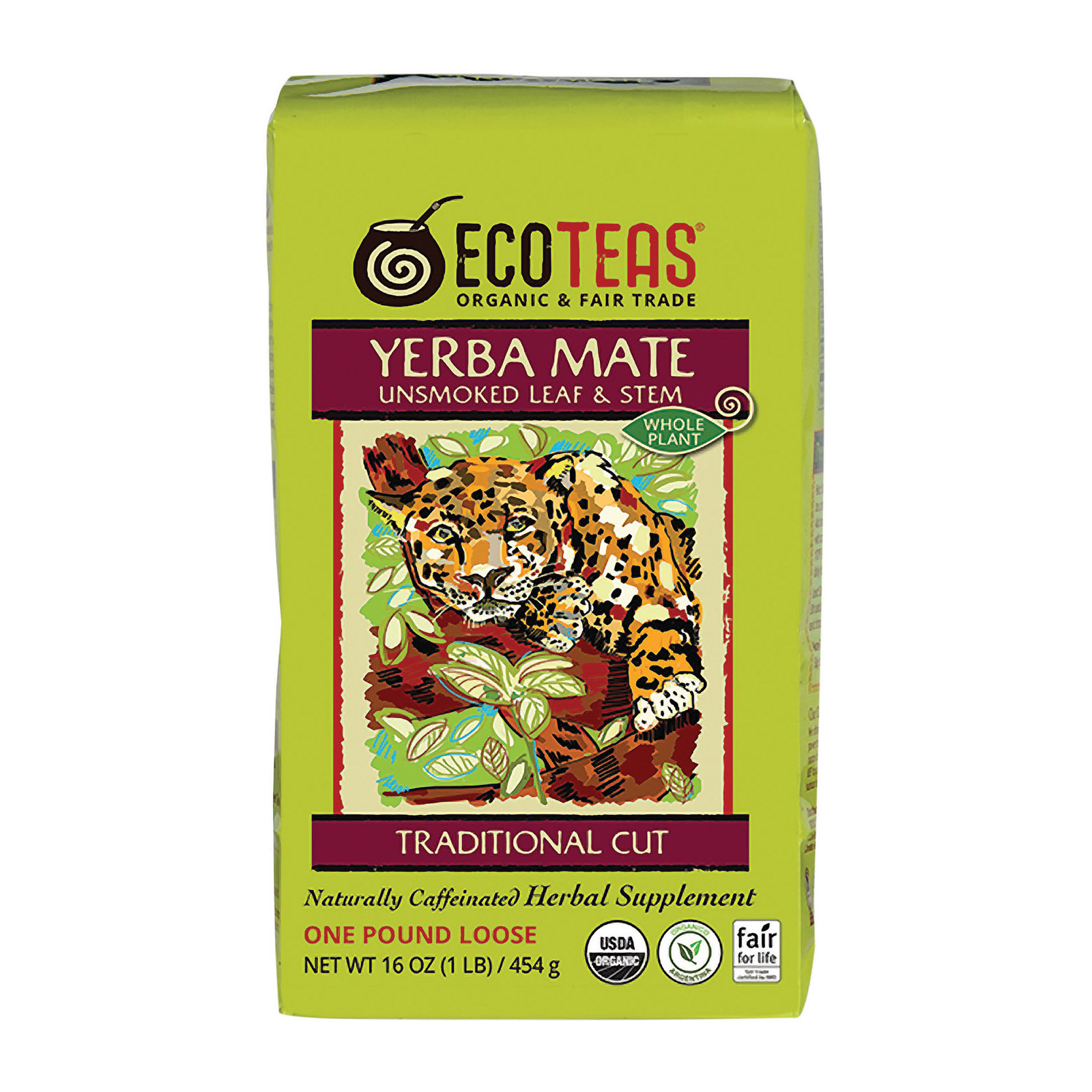 Ecoteas Organic Loose Yerba Mate - Traditional Cut - Case of 6 - 1 lb.