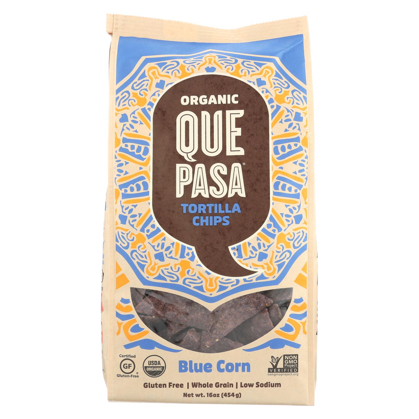 Que Pasa Tortilla Chip - Blue Corn - Case of 12 - 16 oz.