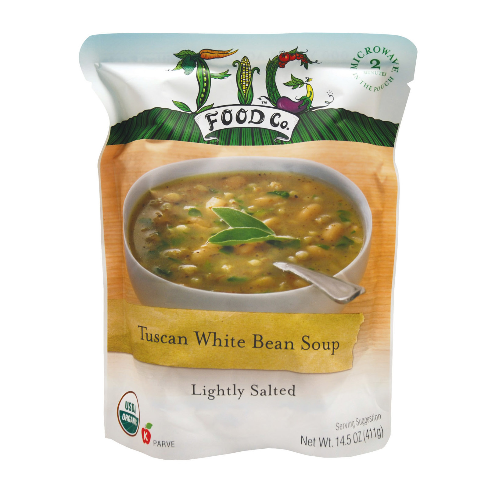Fig Food Organic Tuscan White Bean Soup - Lightly Salted - Case of 6 - 14.5 oz.