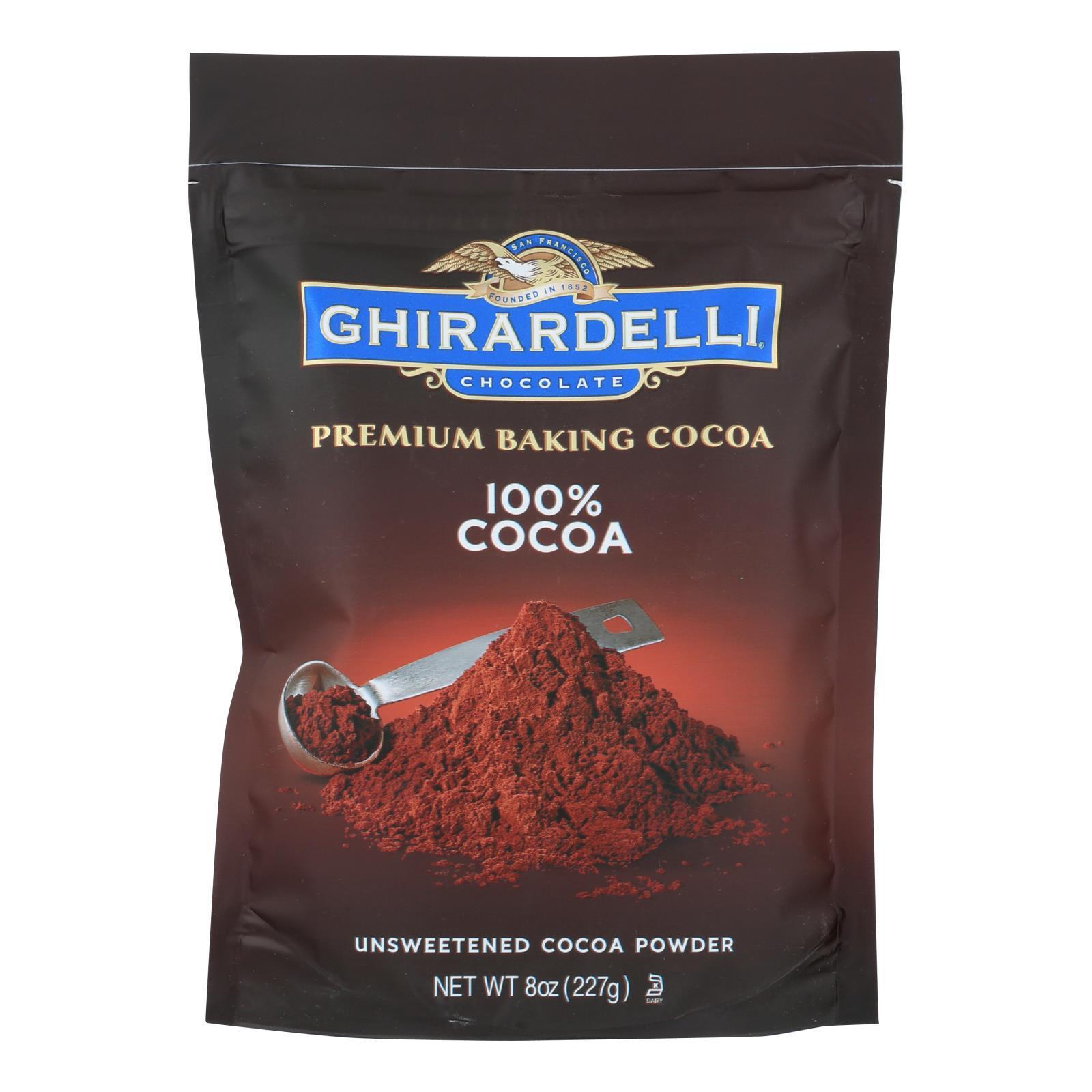 Ghirardelli Baking Cocoa - Premium - 100 Percent Unsweetened - 8 oz - case of 6